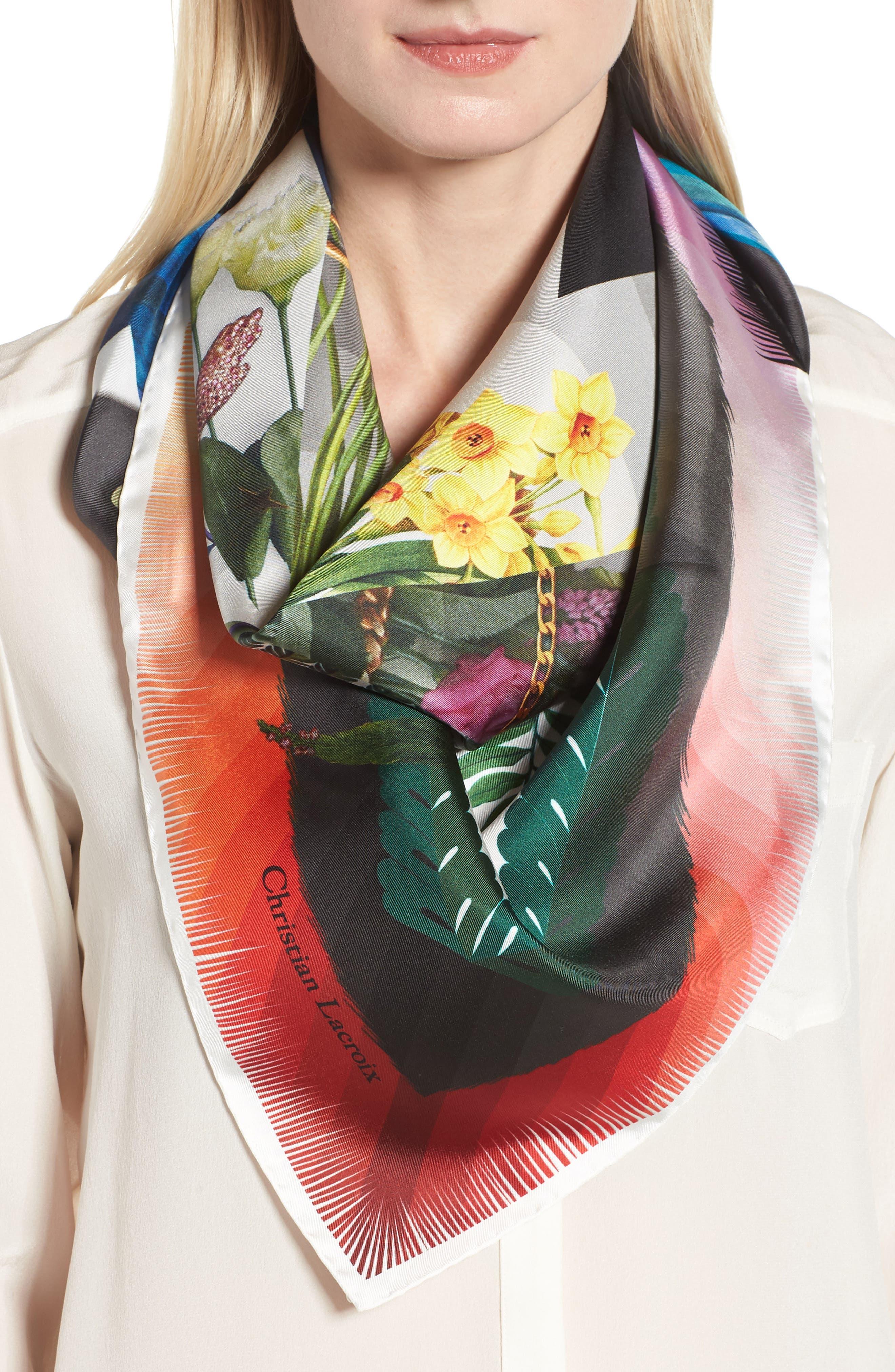 Cristian Lacroix Botanic Silk Scarf,                             Alternate thumbnail 2, color,                             BLACK