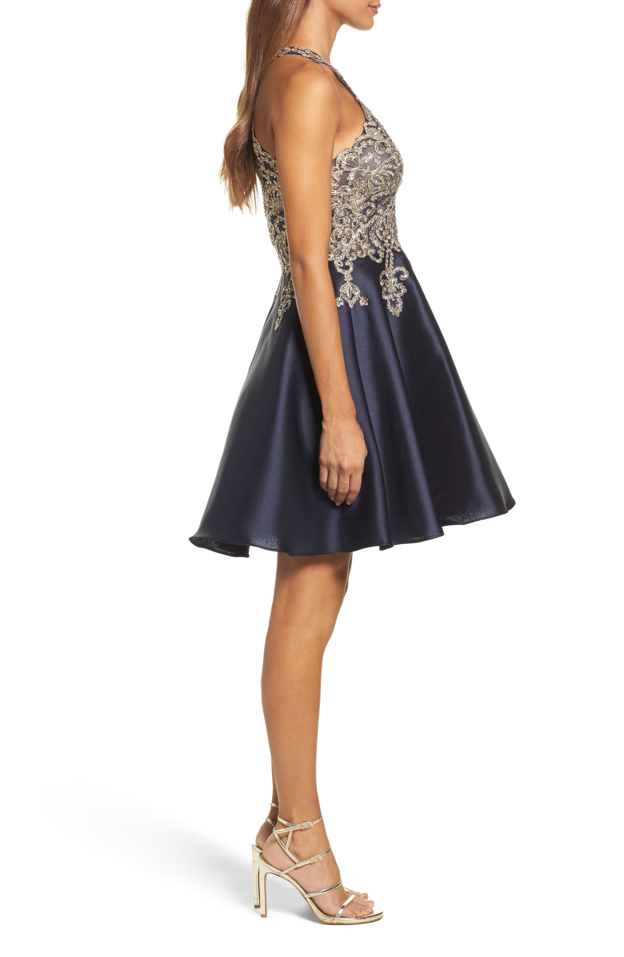 XSCAPE,                             Embellished Embroidered Mikado Party Dress,                             Alternate thumbnail 3, color,                             409