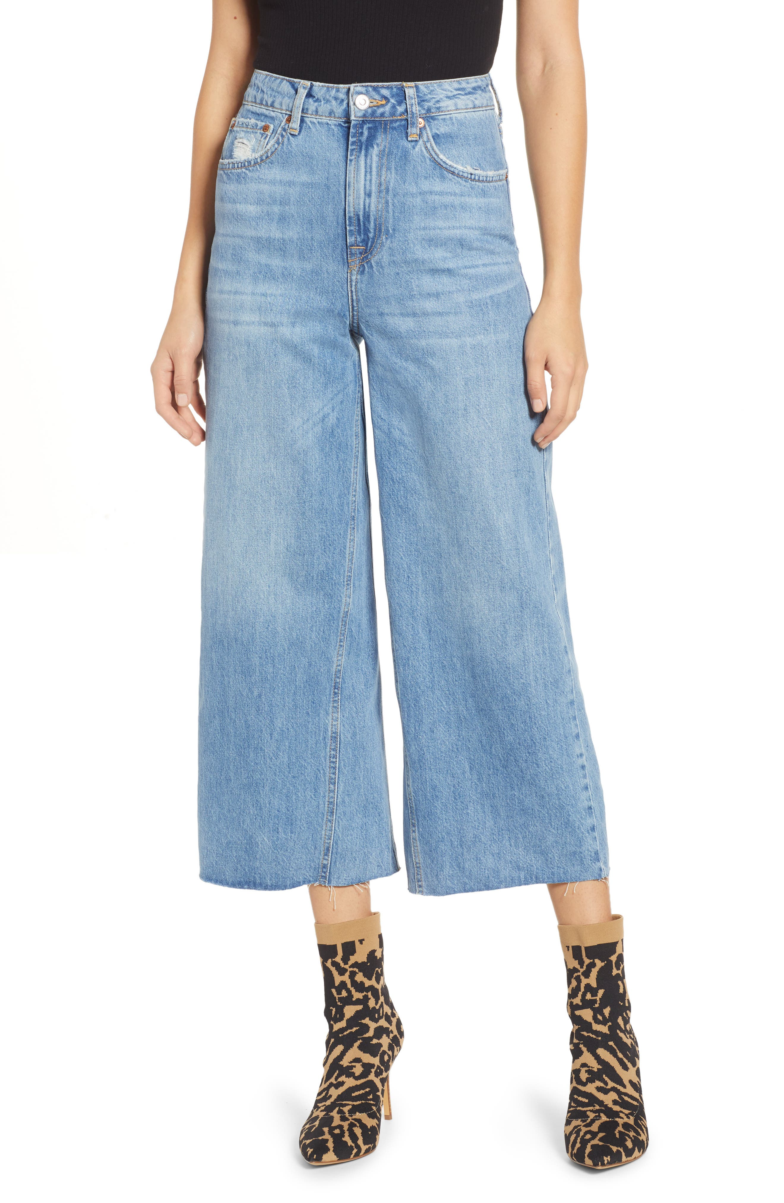 Crop Wide Leg Jeans,                         Main,                         color, MID DENIM