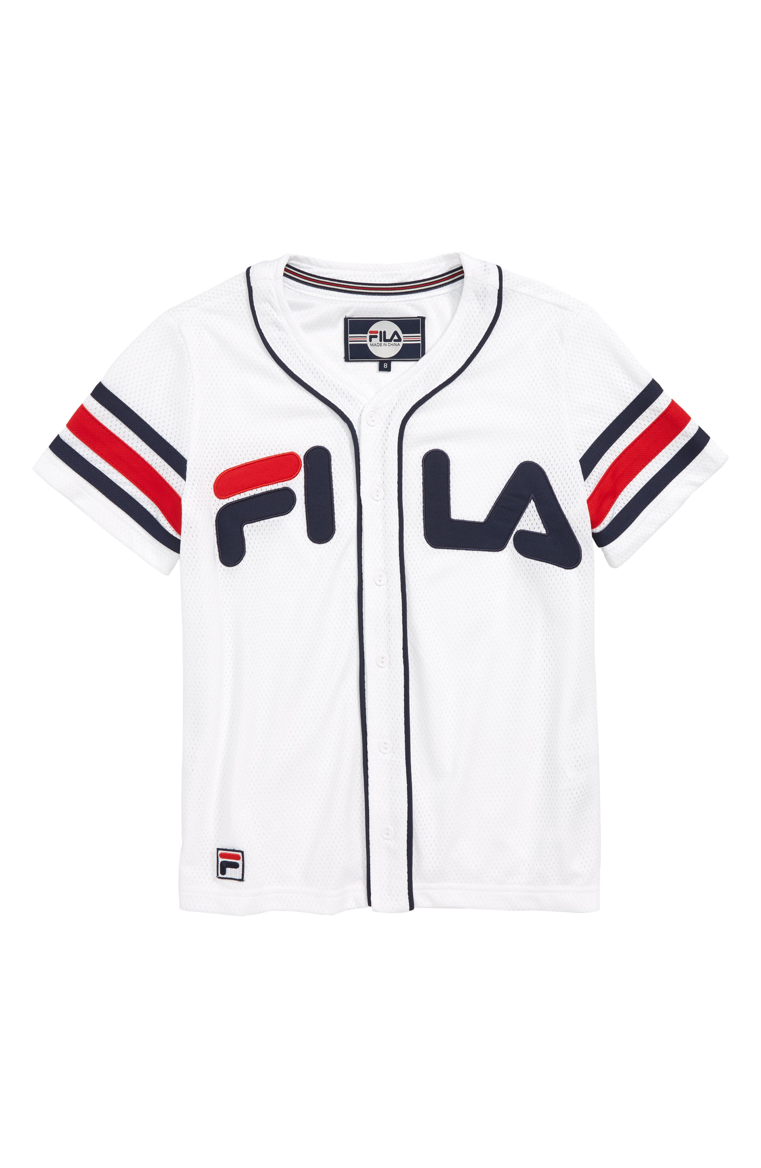 FILA Mesh Baseball Jersey, Main, color, 100