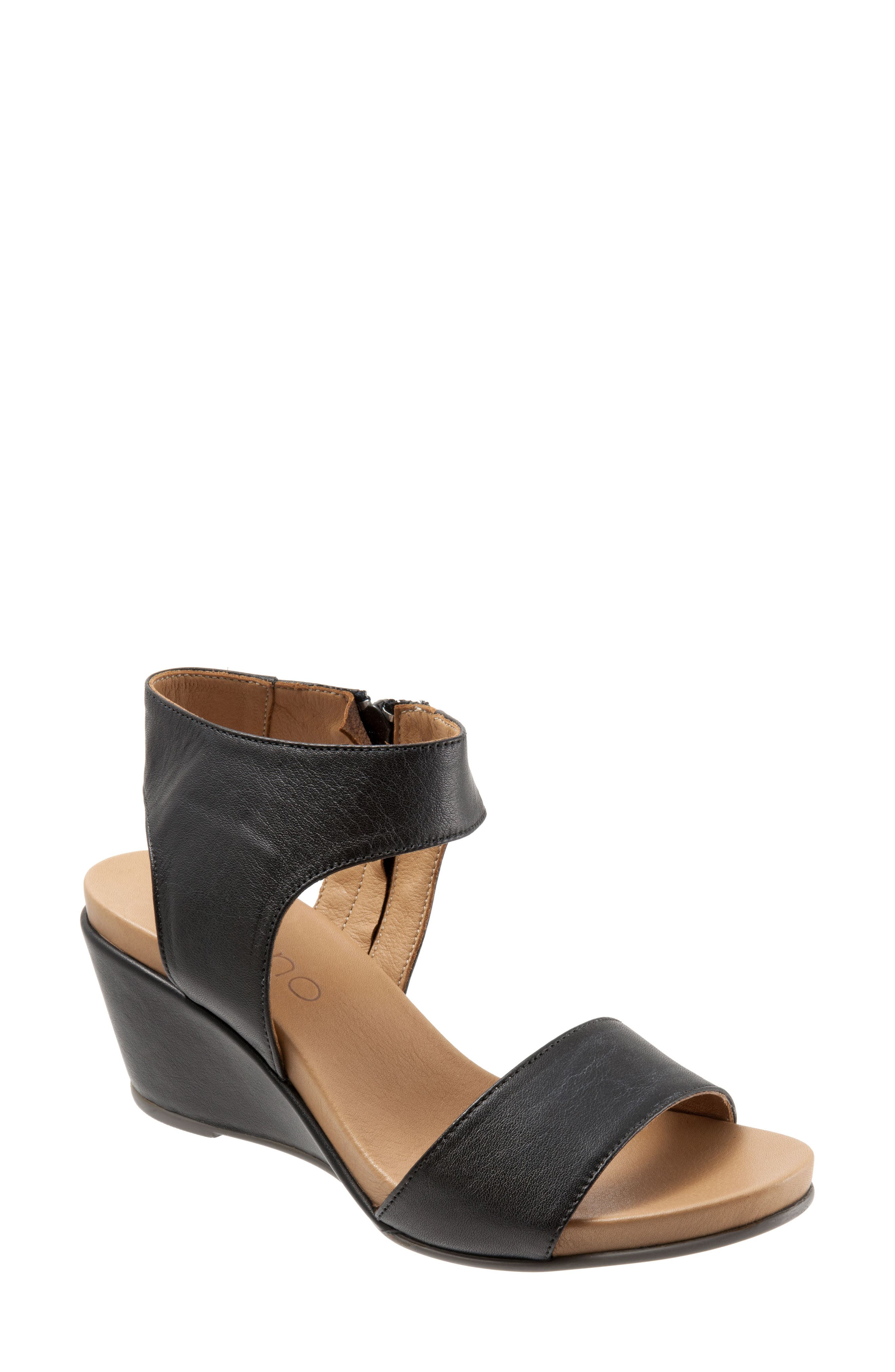Ida Wedge Sandal,                         Main,                         color, BLACK LEATHER