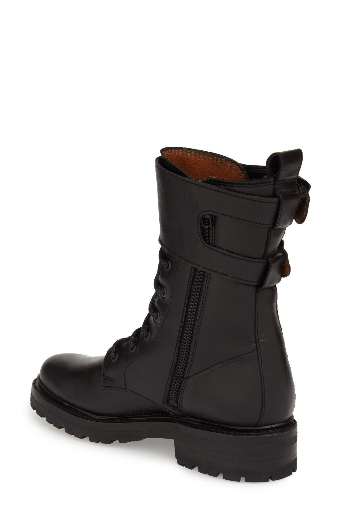 'Julie' Shield Combat Boot,                             Alternate thumbnail 2, color,                             001