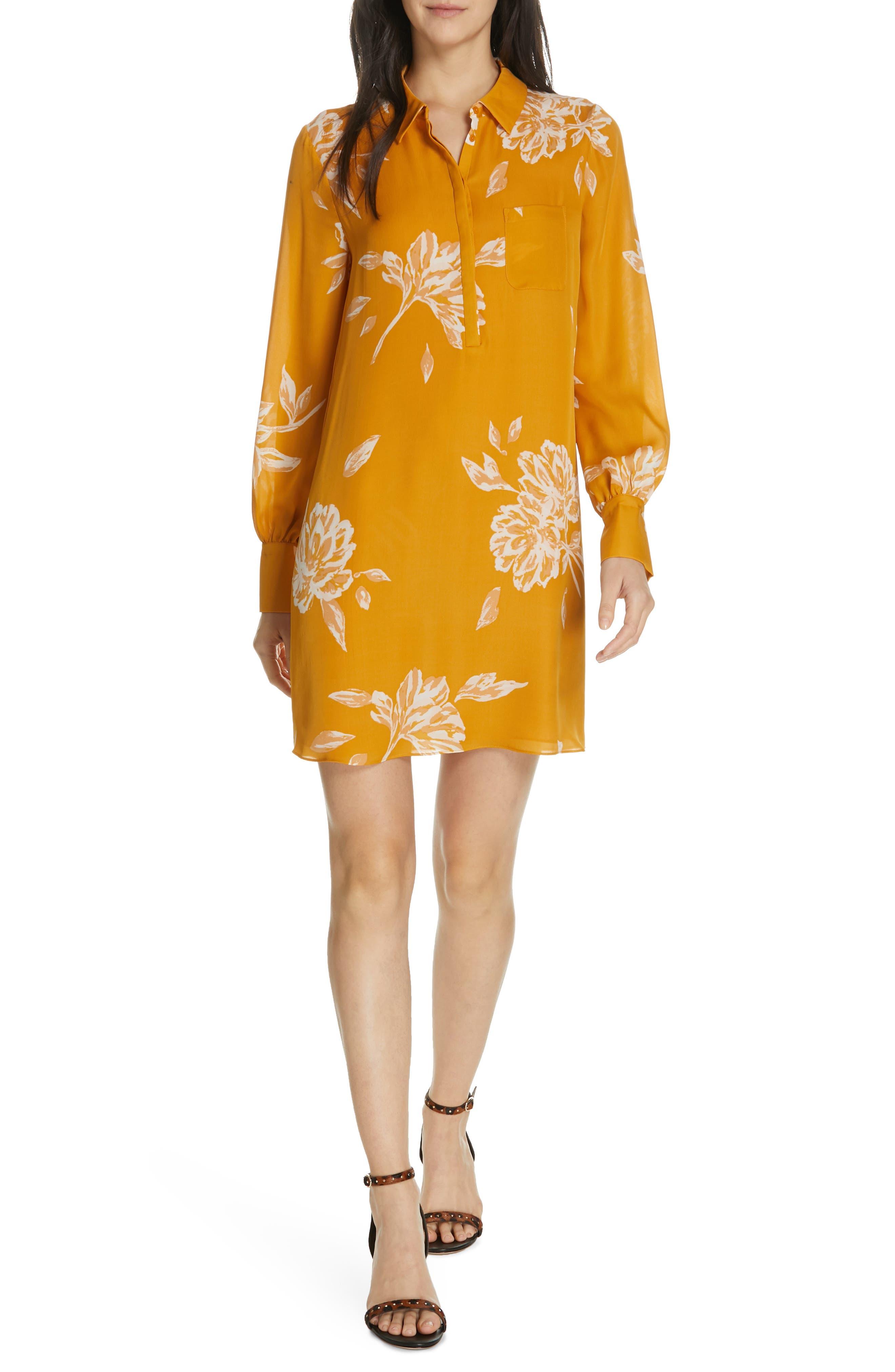 Amaranda Silk Shirtdress, Main, color, DUSTY GOLD