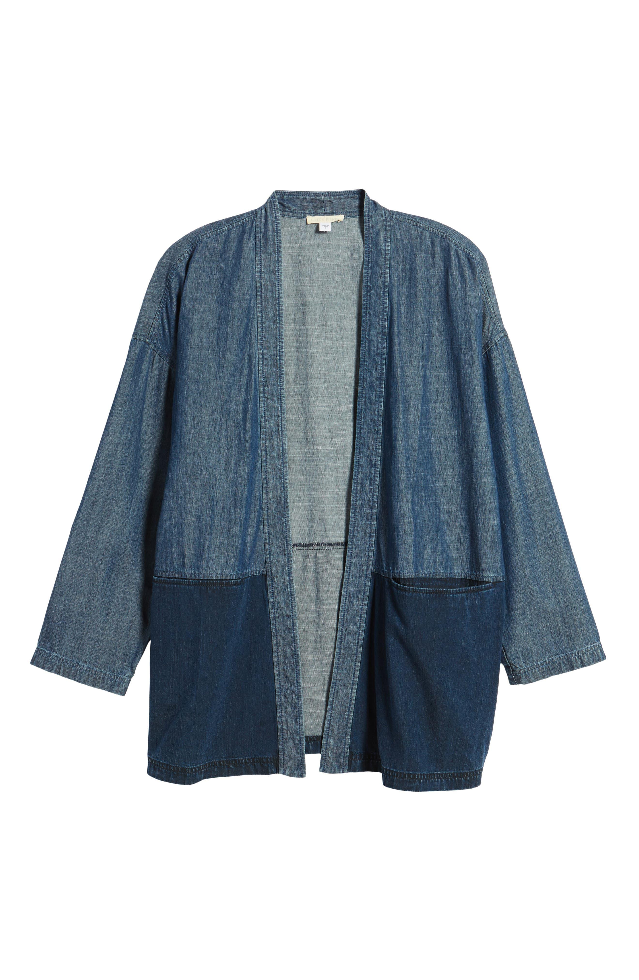 Denim Kimono Jacket,                             Alternate thumbnail 5, color,                             419