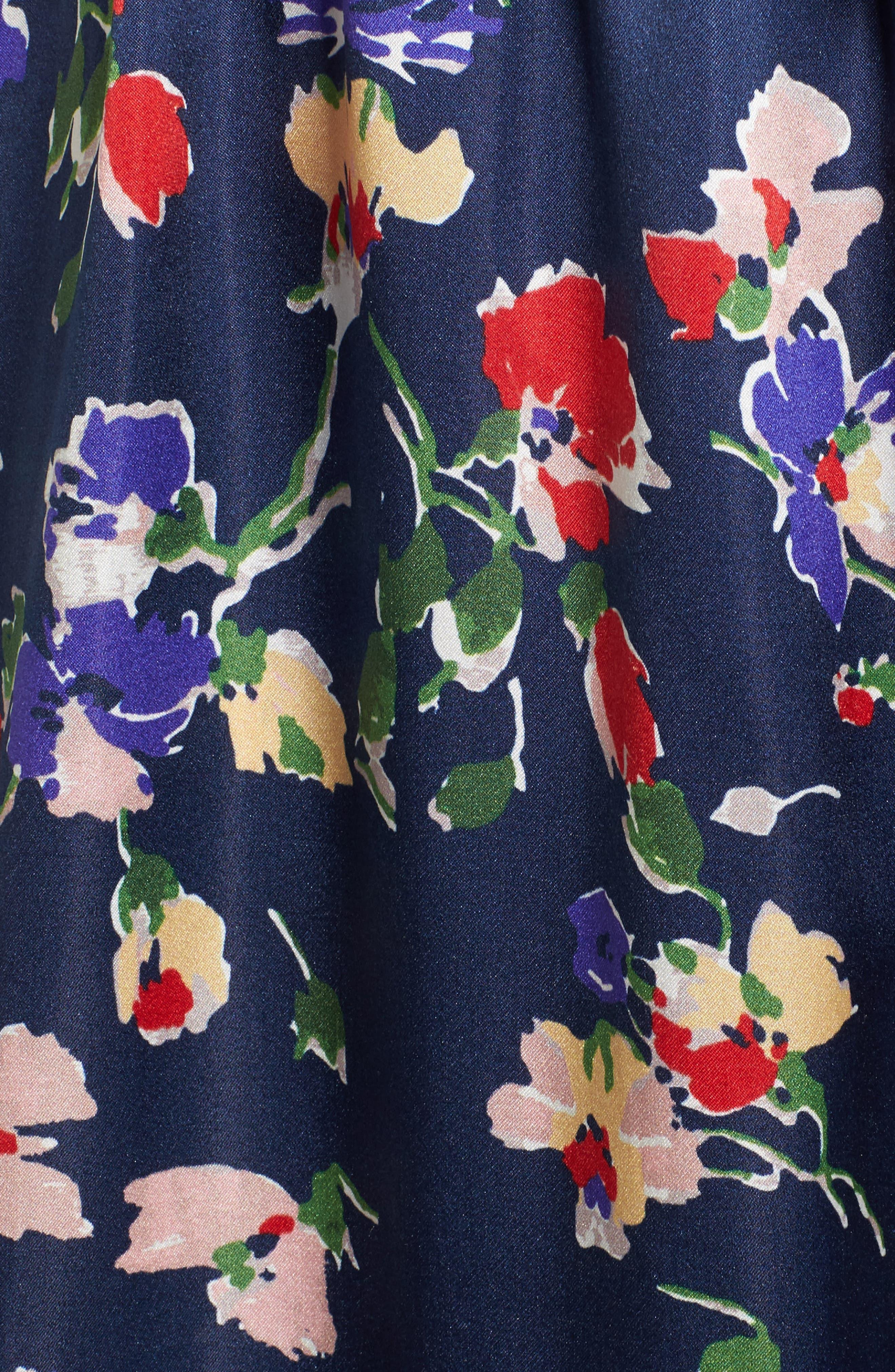 Floral Satin Faux Wrap Maxi Dress,                             Alternate thumbnail 5, color,                             900