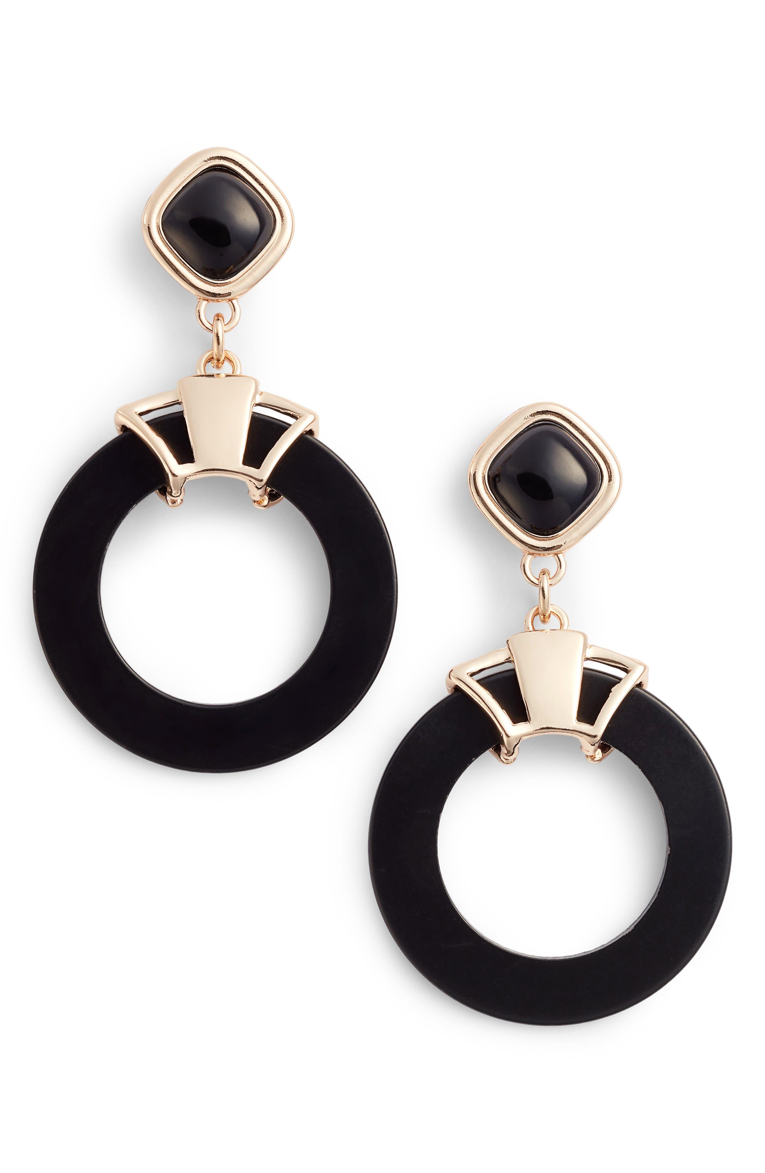 Stone Circle Earrings,                             Main thumbnail 1, color,                             001