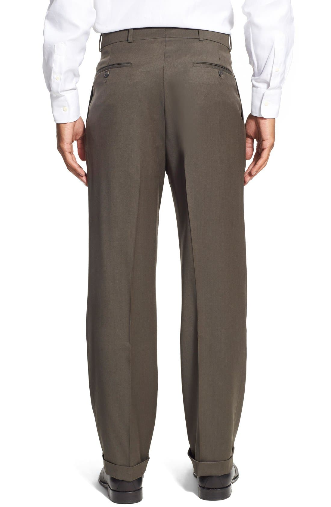 Pleated Solid Wool Trousers,                             Alternate thumbnail 24, color,