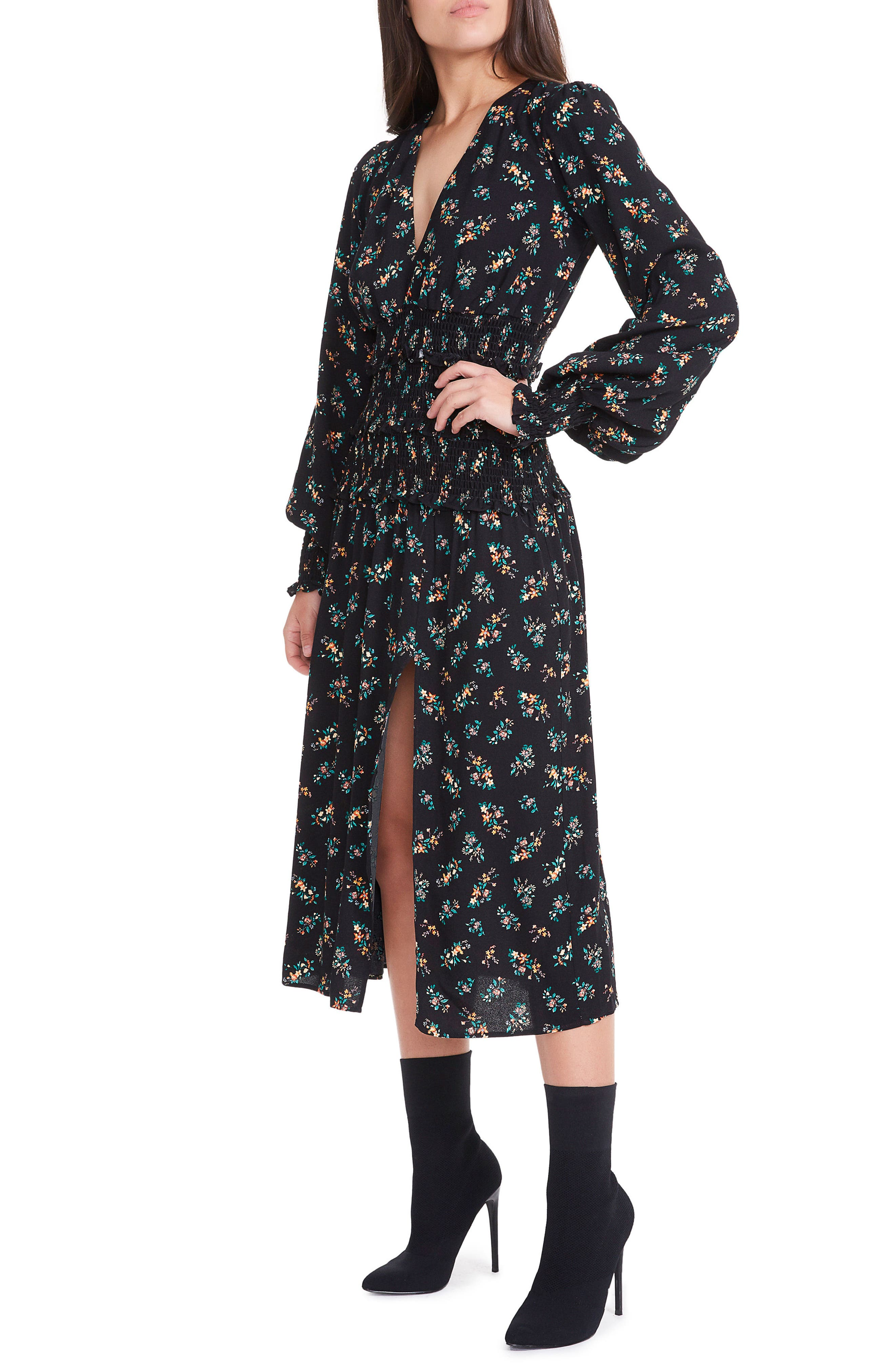 Hazel Smocked Midi Dress,                             Alternate thumbnail 5, color,                             001