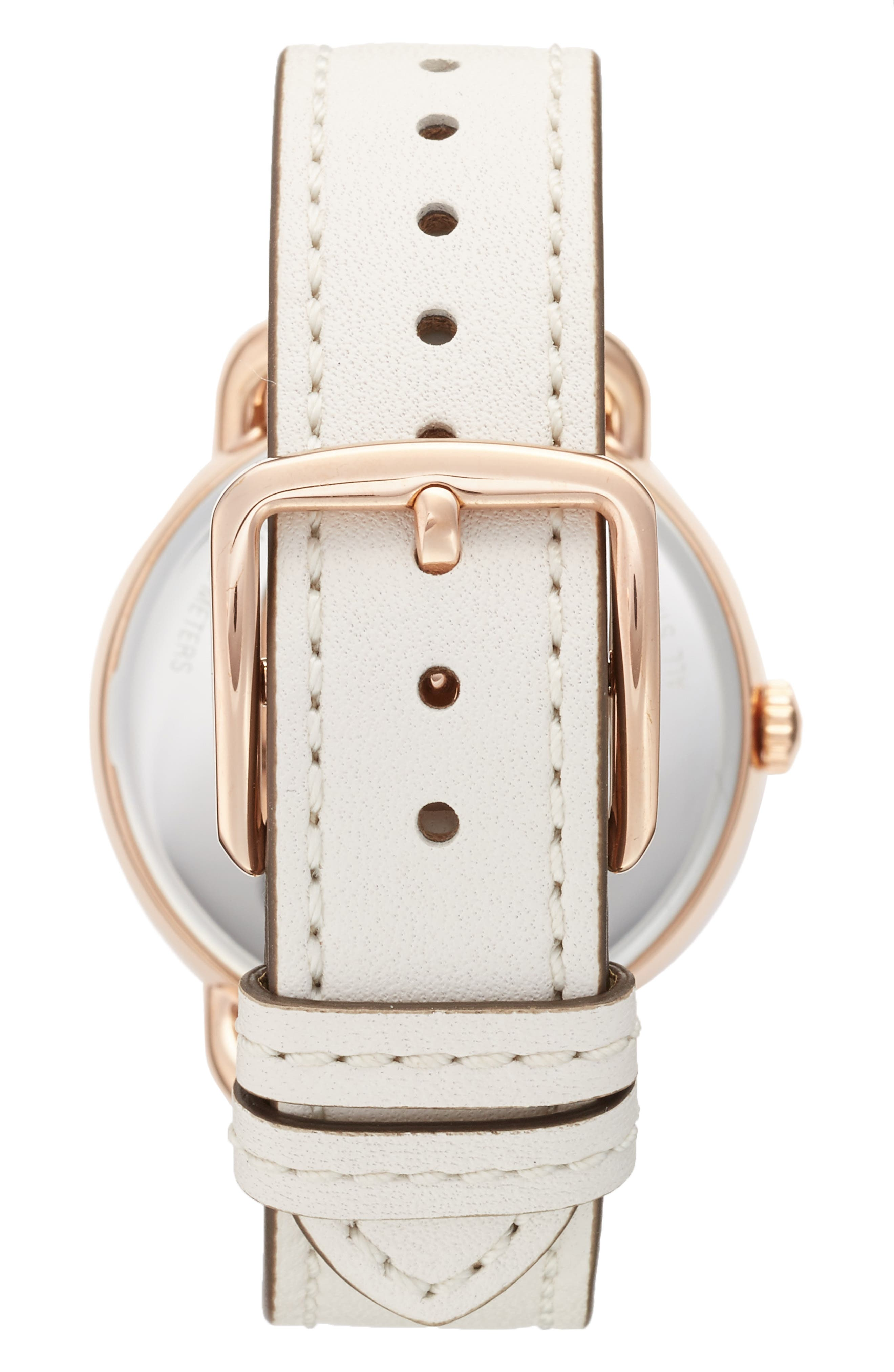 Delancey Leather Strap Watch, 36mm,                             Alternate thumbnail 2, color,                             WHITE/ ROSE GOLD