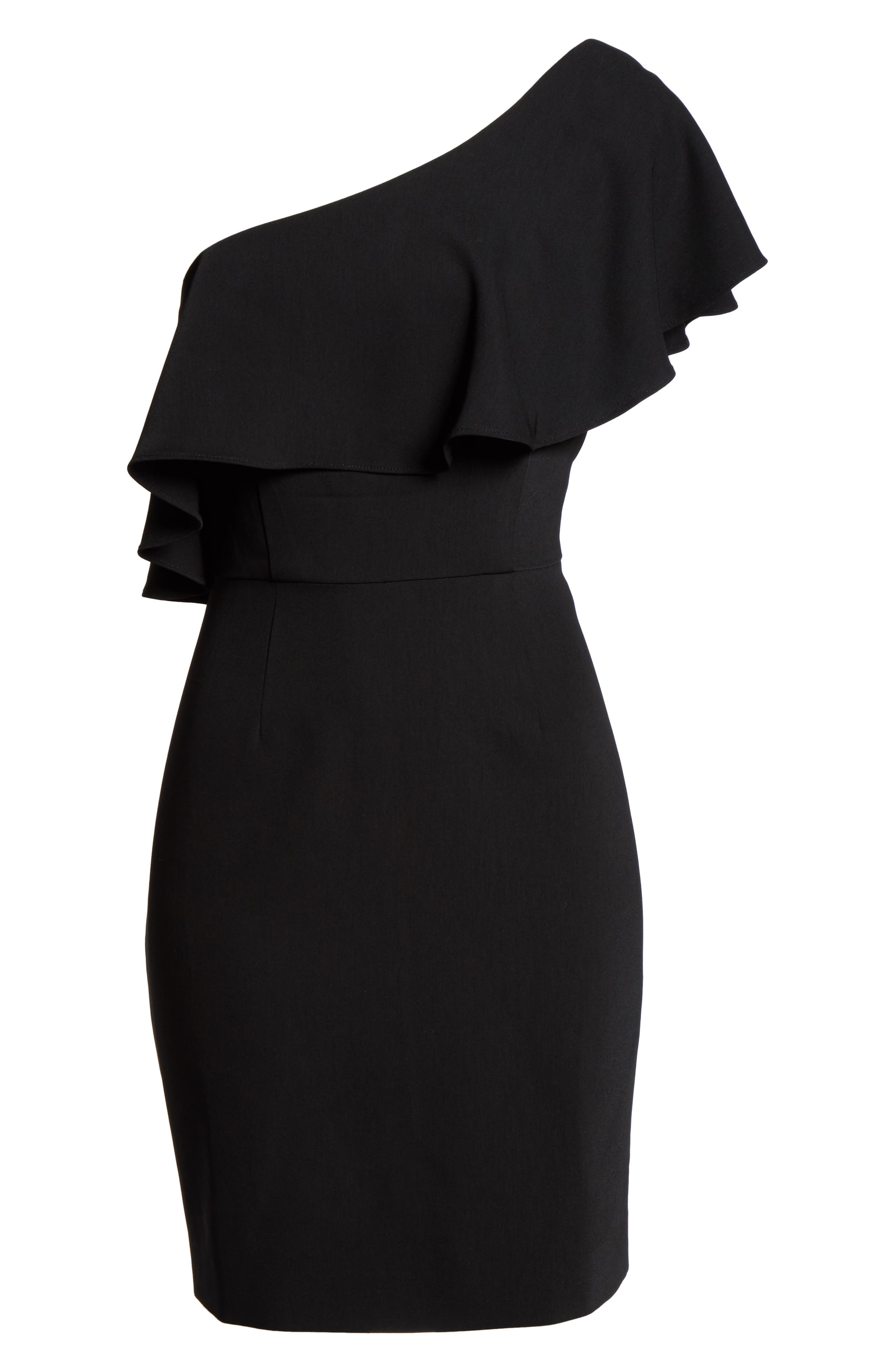 Cale One-Shoulder Crepe Sheath Dress,                             Alternate thumbnail 6, color,                             001