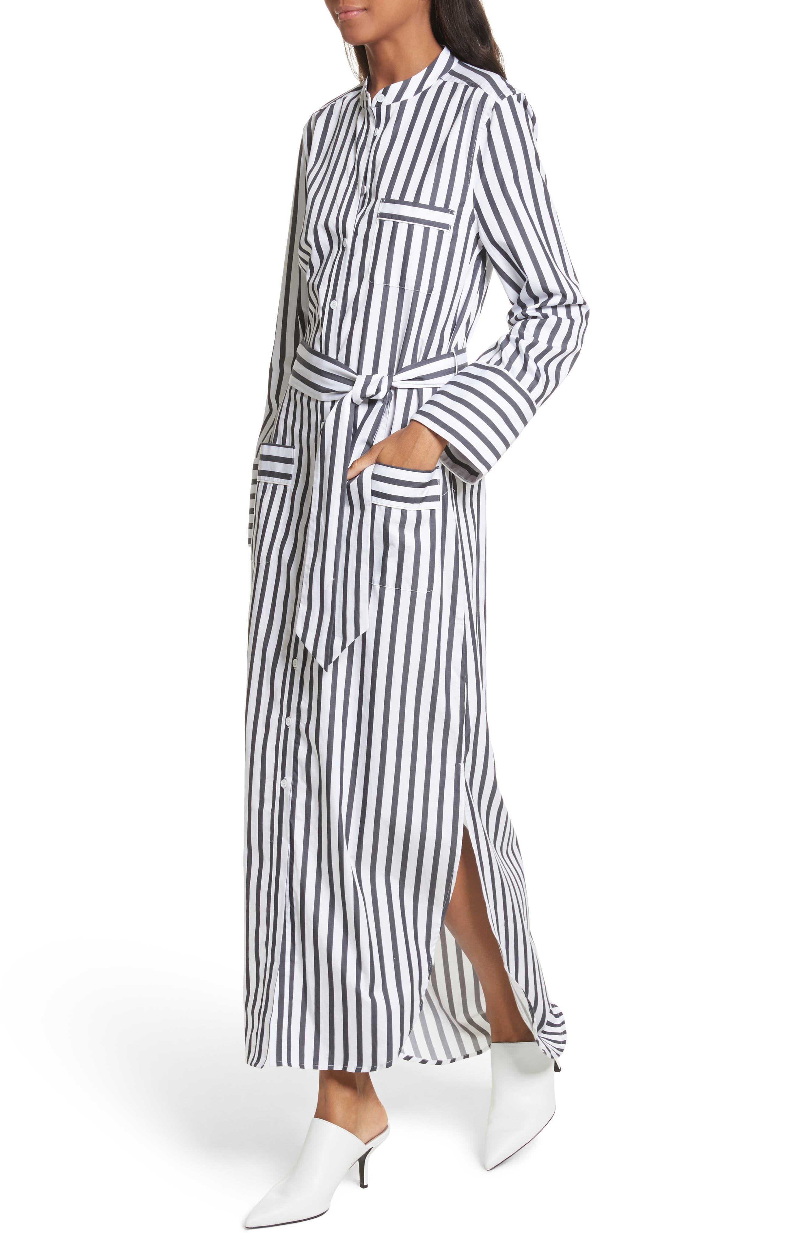 Britten Stripe Cotton Maxi Dress,                             Alternate thumbnail 4, color,                             125
