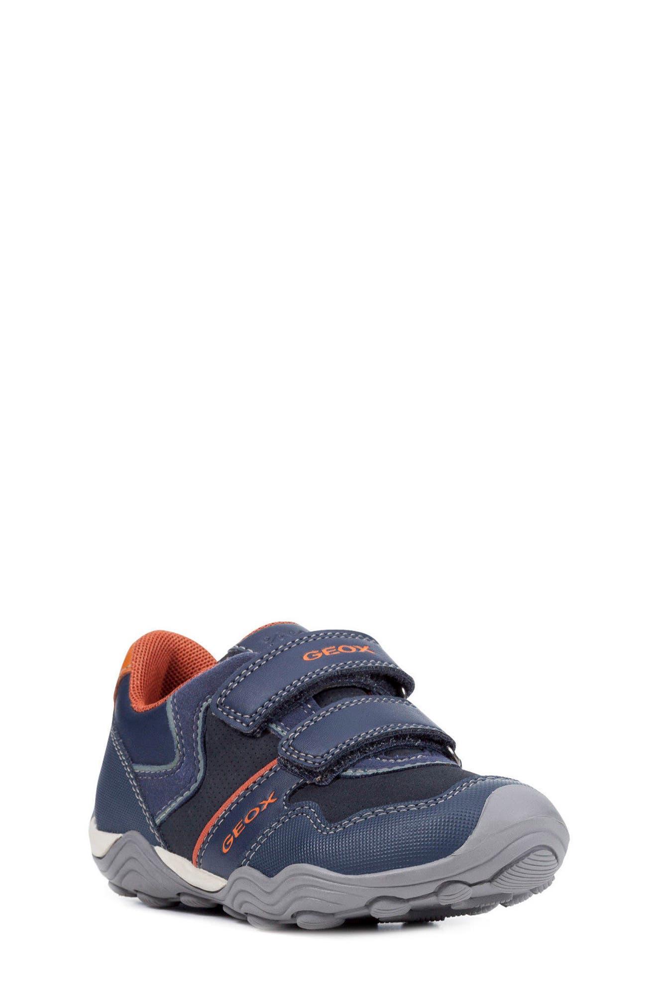 Jr Arno 13 Sneaker,                         Main,                         color, NAVY/ DARK ORANGE