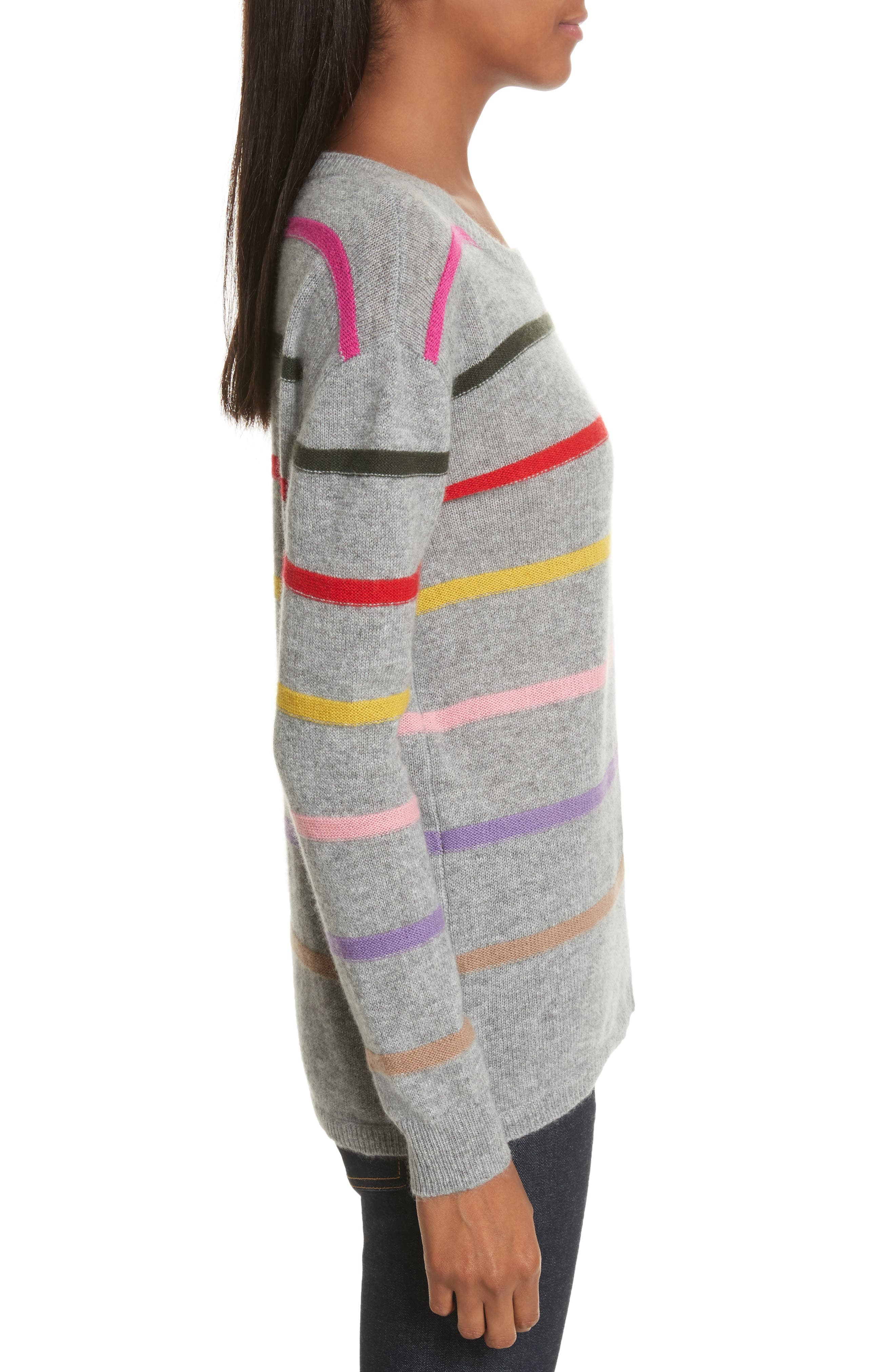Stripe Cashmere Sweater,                             Alternate thumbnail 3, color,                             021