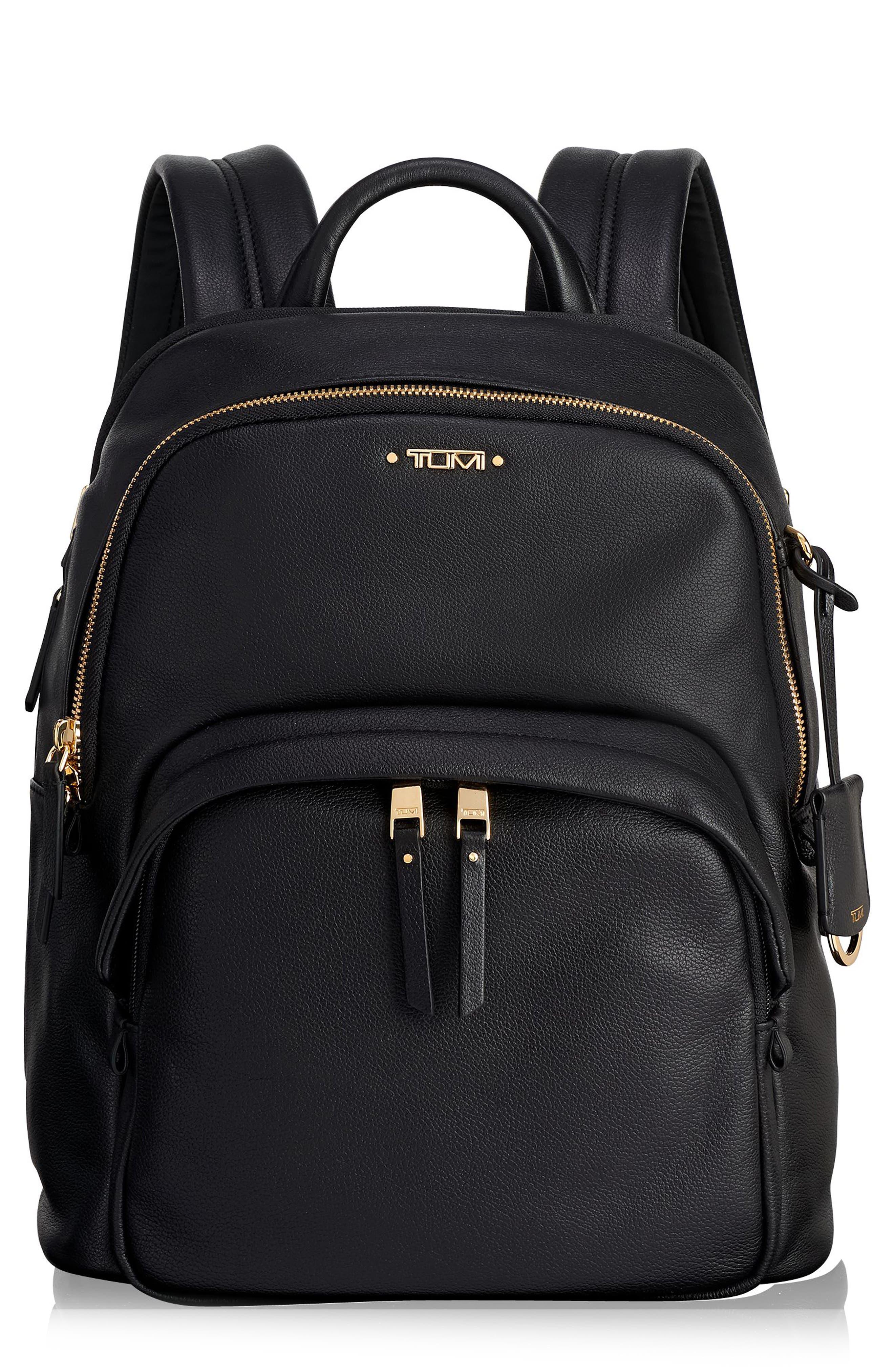 Voyageur - Dori Leather Backpack,                         Main,                         color, BLACK