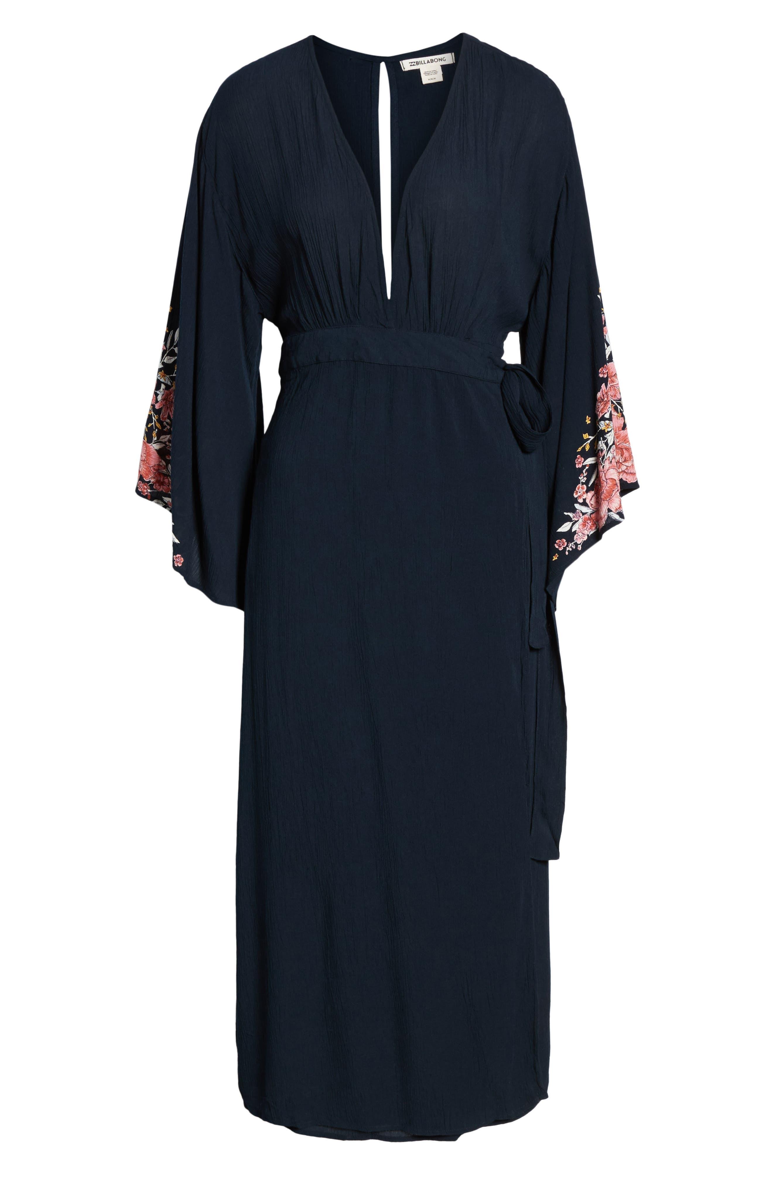Robe Life Midi Dress,                             Alternate thumbnail 3, color,                             DEEP SEA