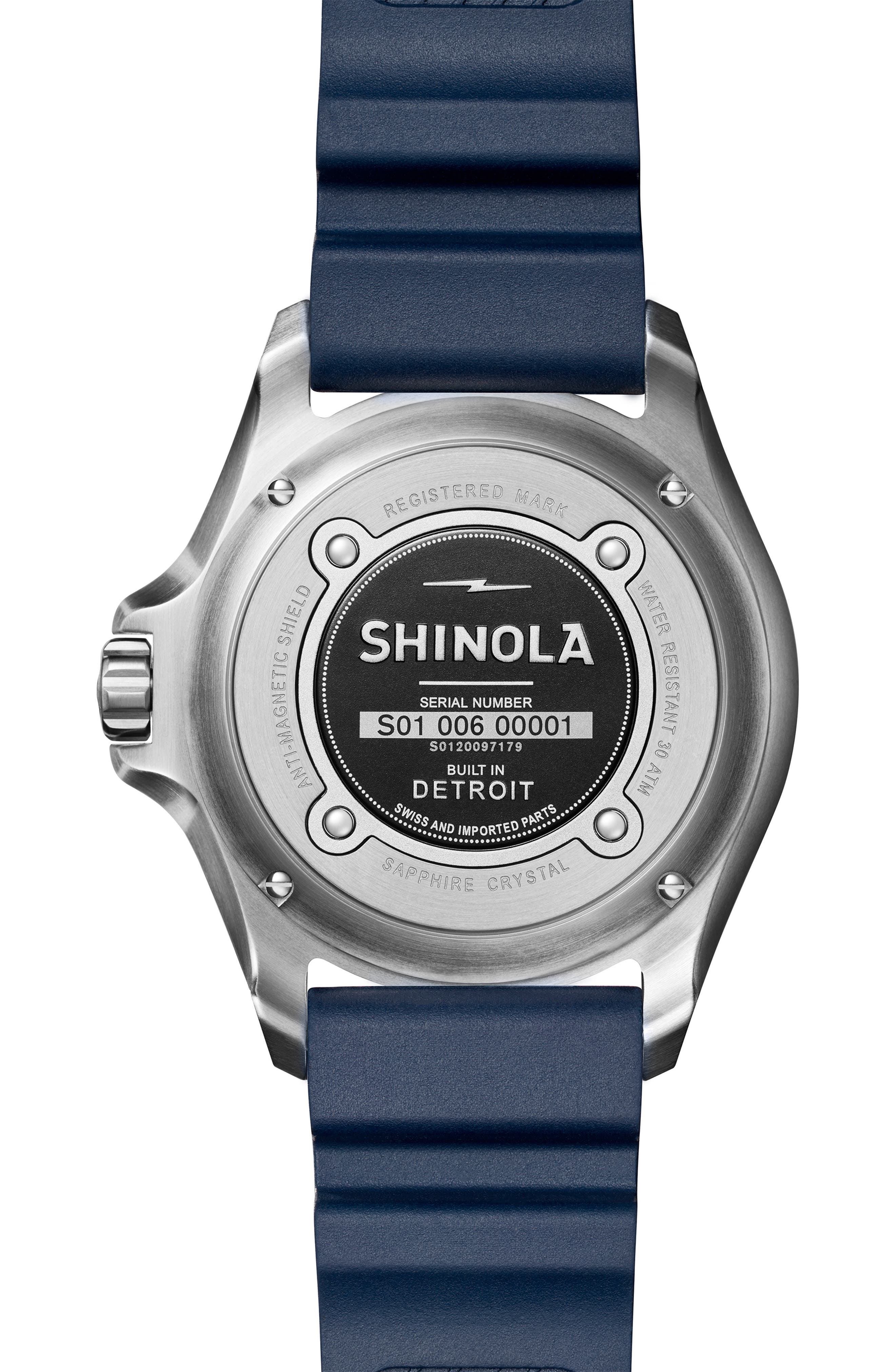 Monster Automatic Rubber Strap Watch, 43mm,                             Alternate thumbnail 2, color,                             SILVER/ MIDNIGHT