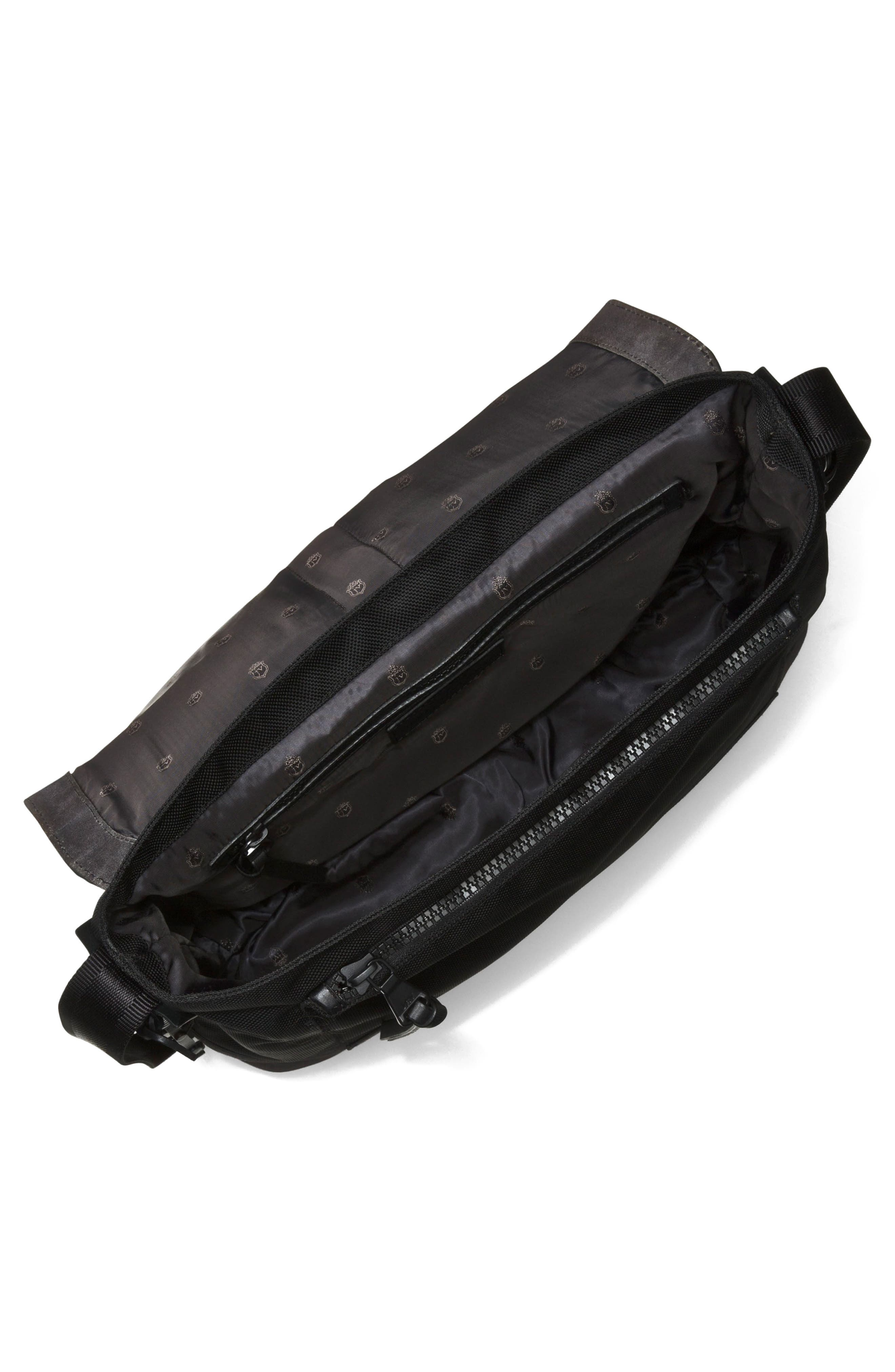 Suede & Ballistic Nylon Messenger Bag,                             Alternate thumbnail 3, color,