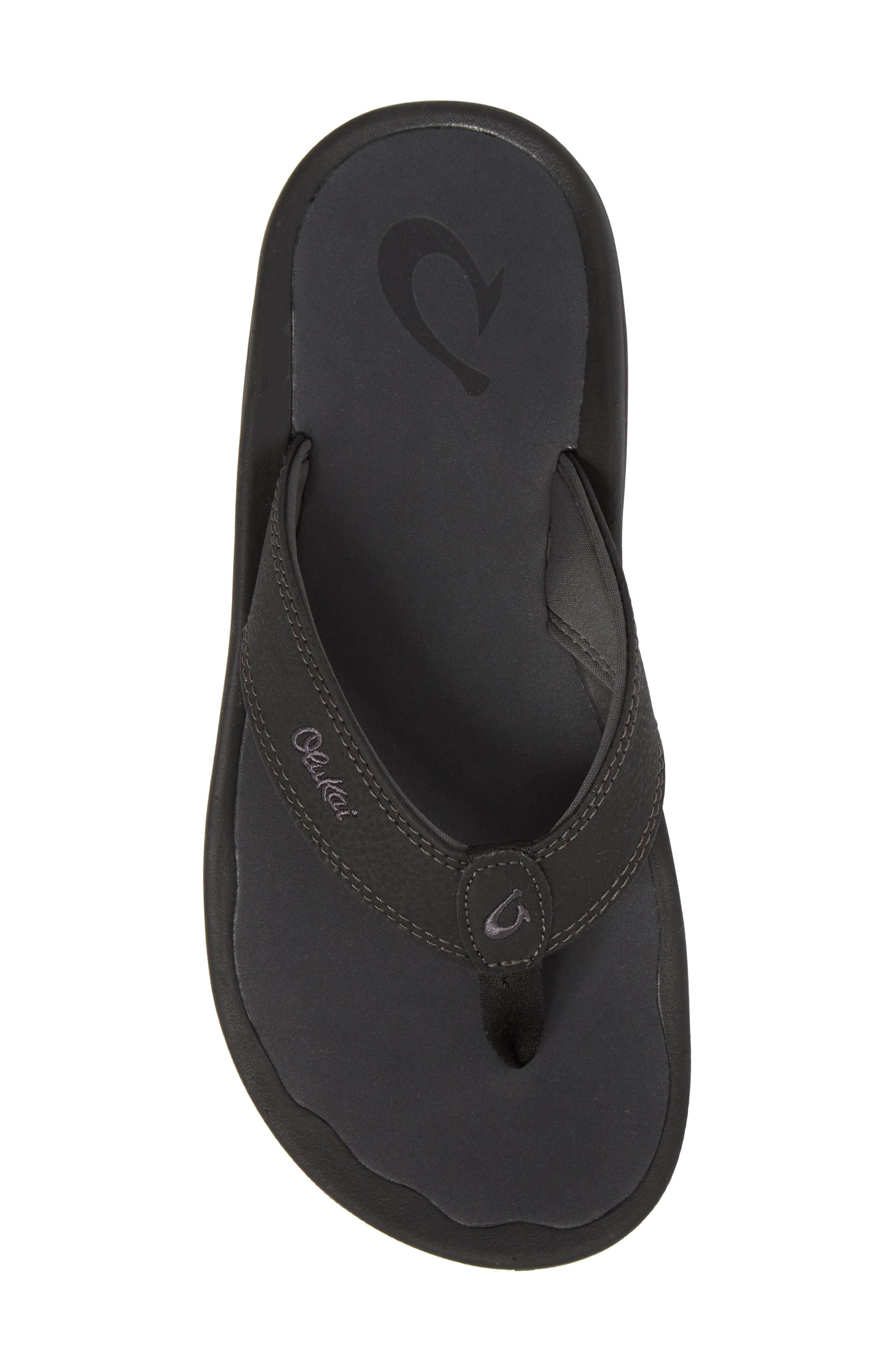 'Ohana' Flip Flop,                             Alternate thumbnail 6, color,                             BLACK/ DARK SHADOW