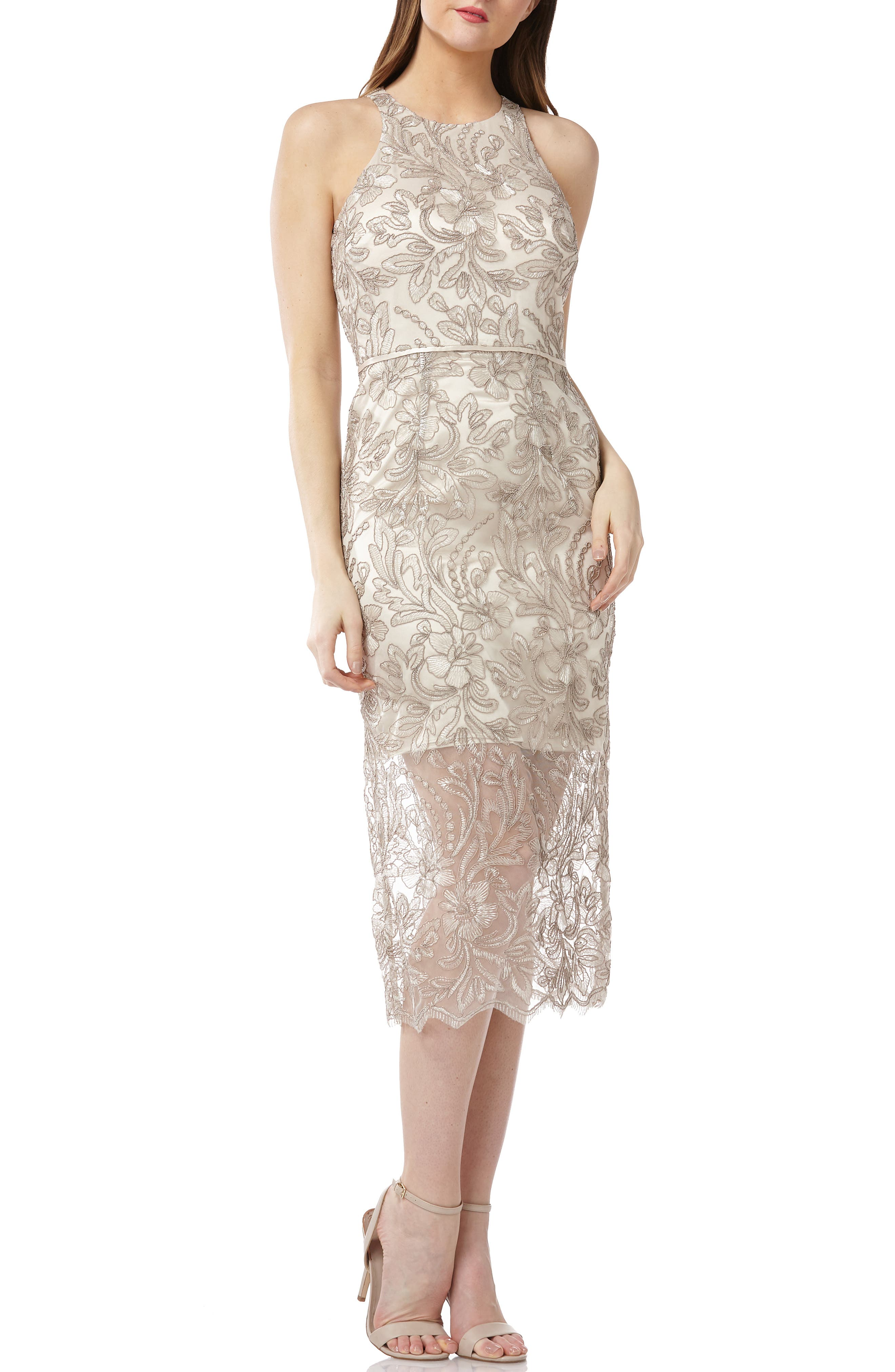 Js Collections Embroidered Sleeveless Midi Dress, Grey