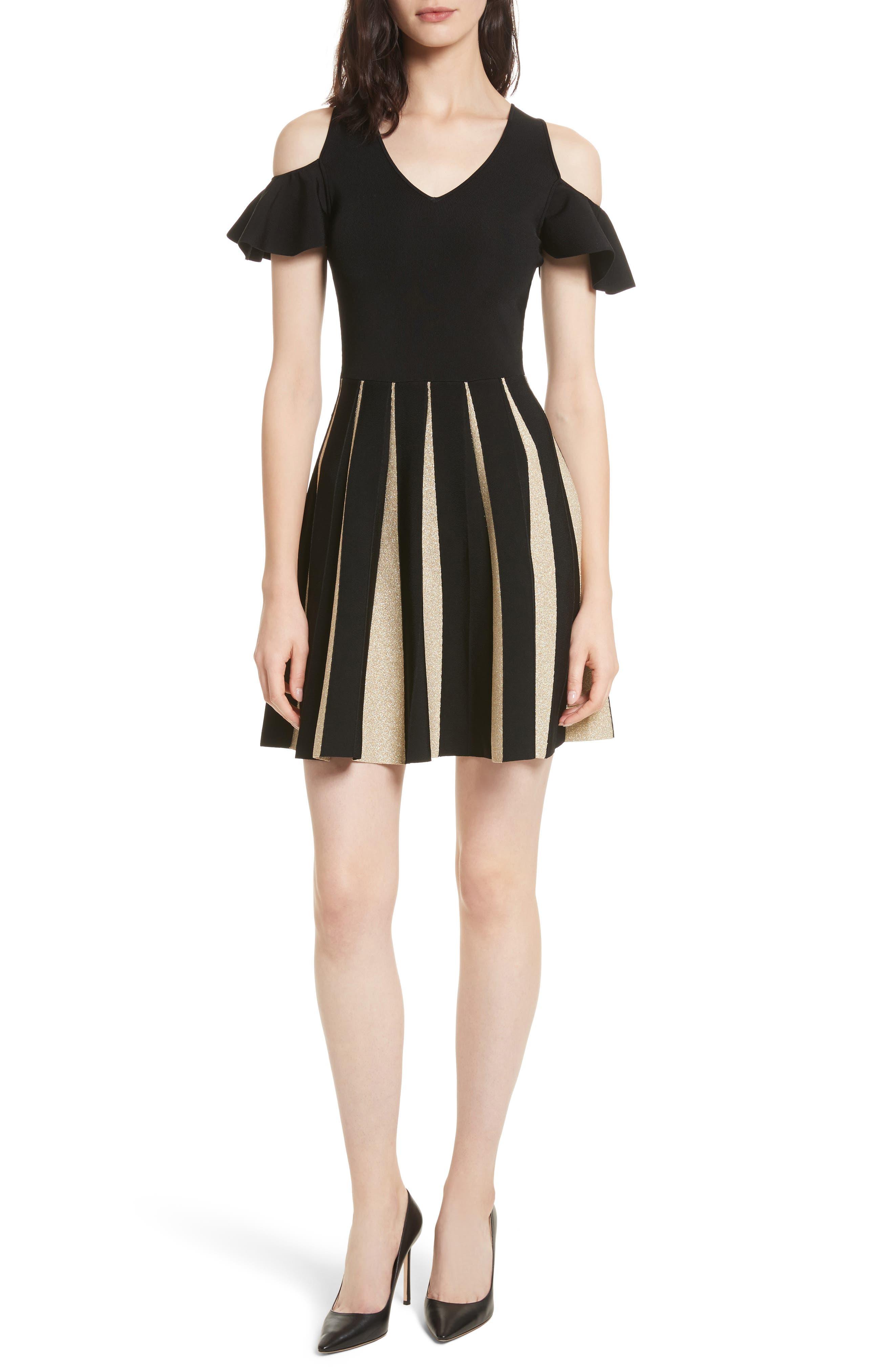 Flippy Cold Shoulder Skater Dress,                             Main thumbnail 1, color,