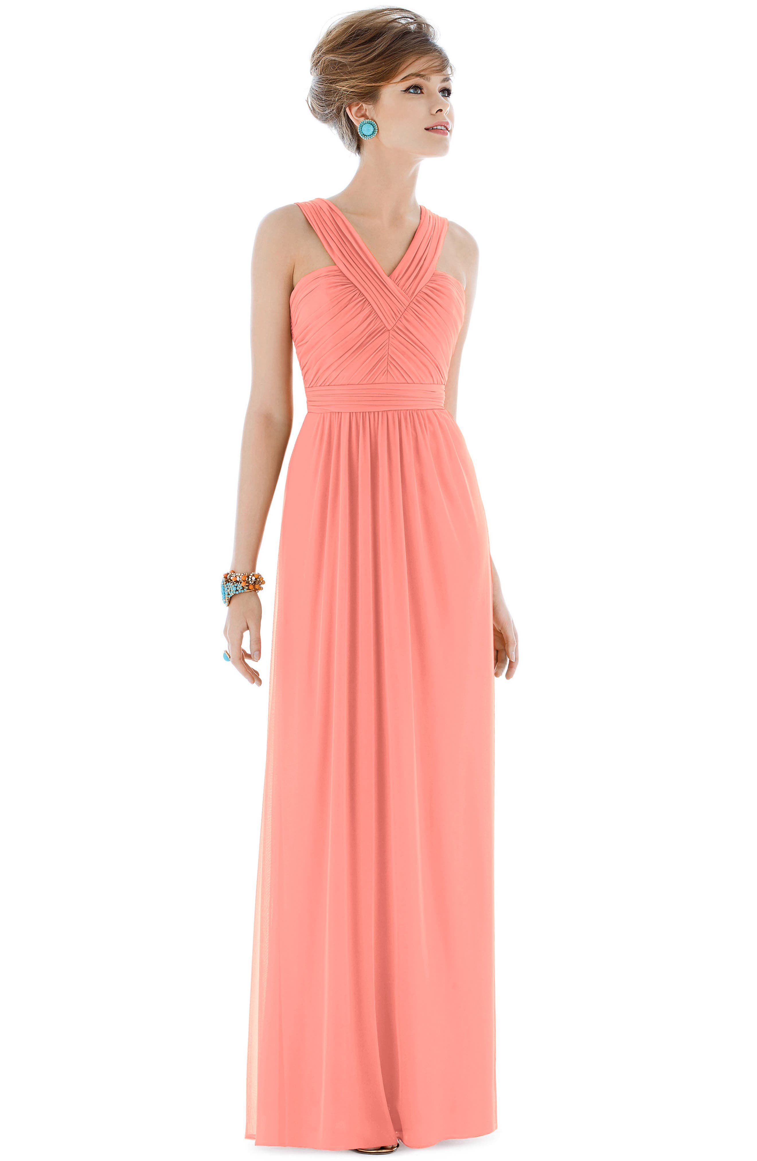 Shirred Chiffon V-Neck Gown,                             Alternate thumbnail 8, color,                             633