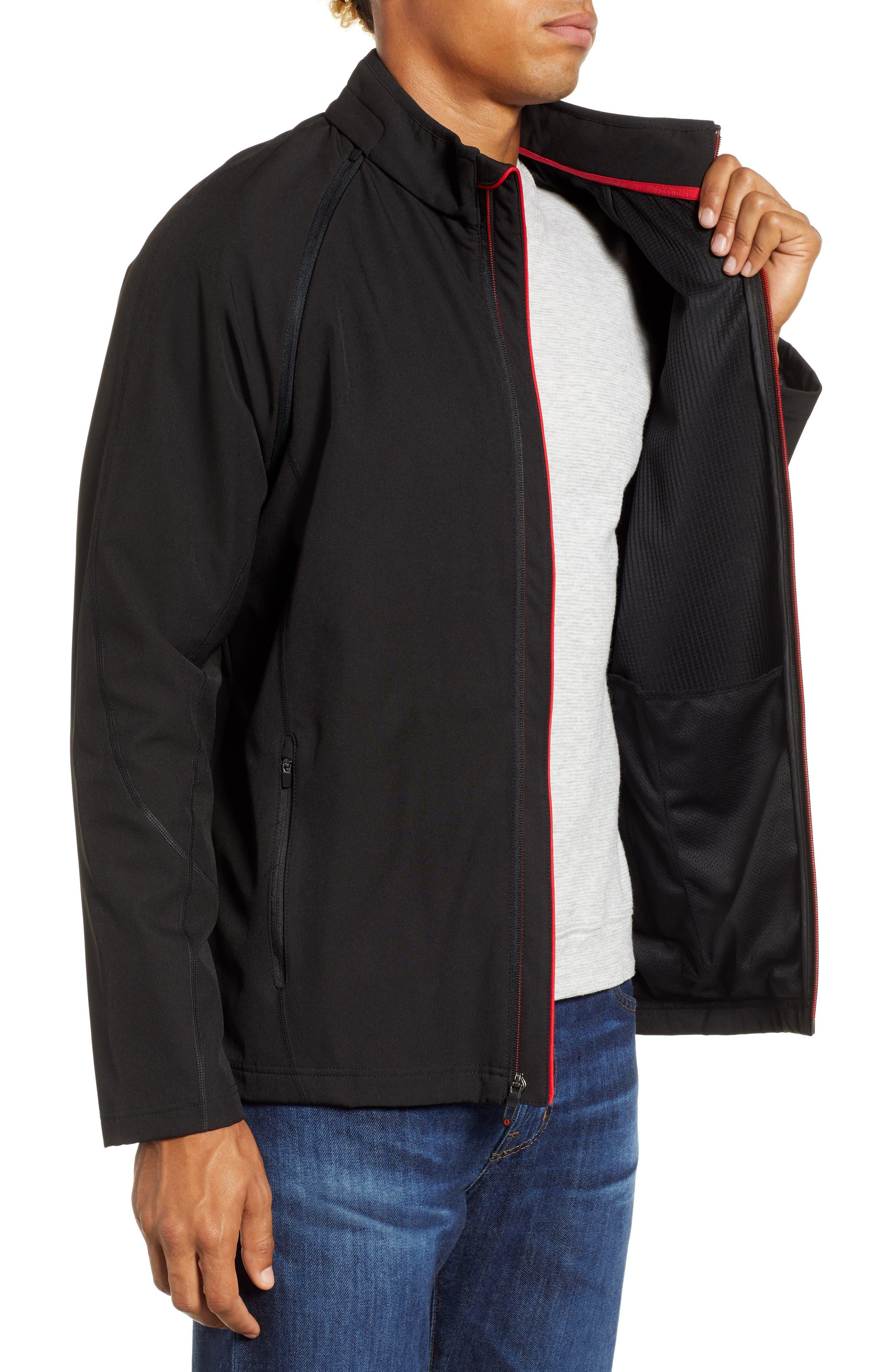 Hanson Water Repellent Convertible Jacket,                             Alternate thumbnail 4, color,                             BLACK