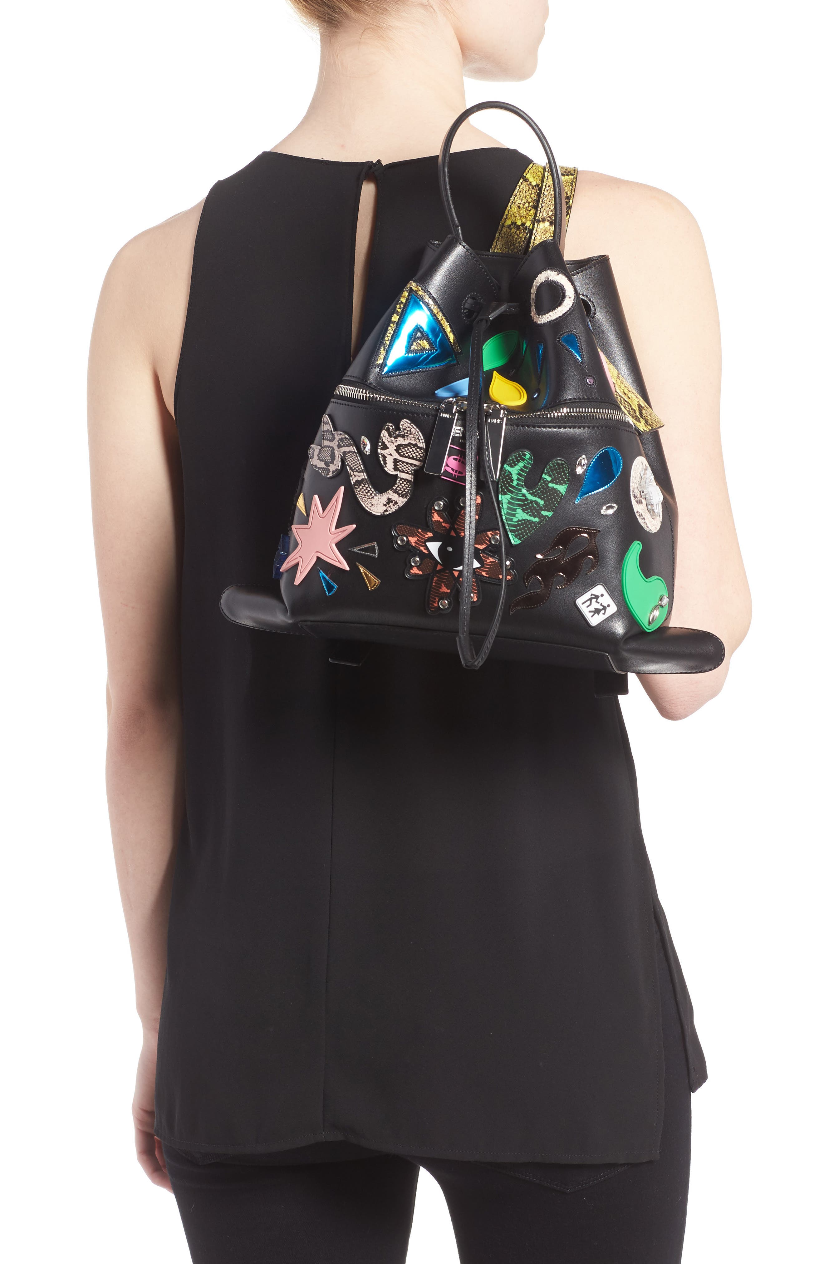 Rizo Badge Leather Backpack,                             Alternate thumbnail 2, color,                             001