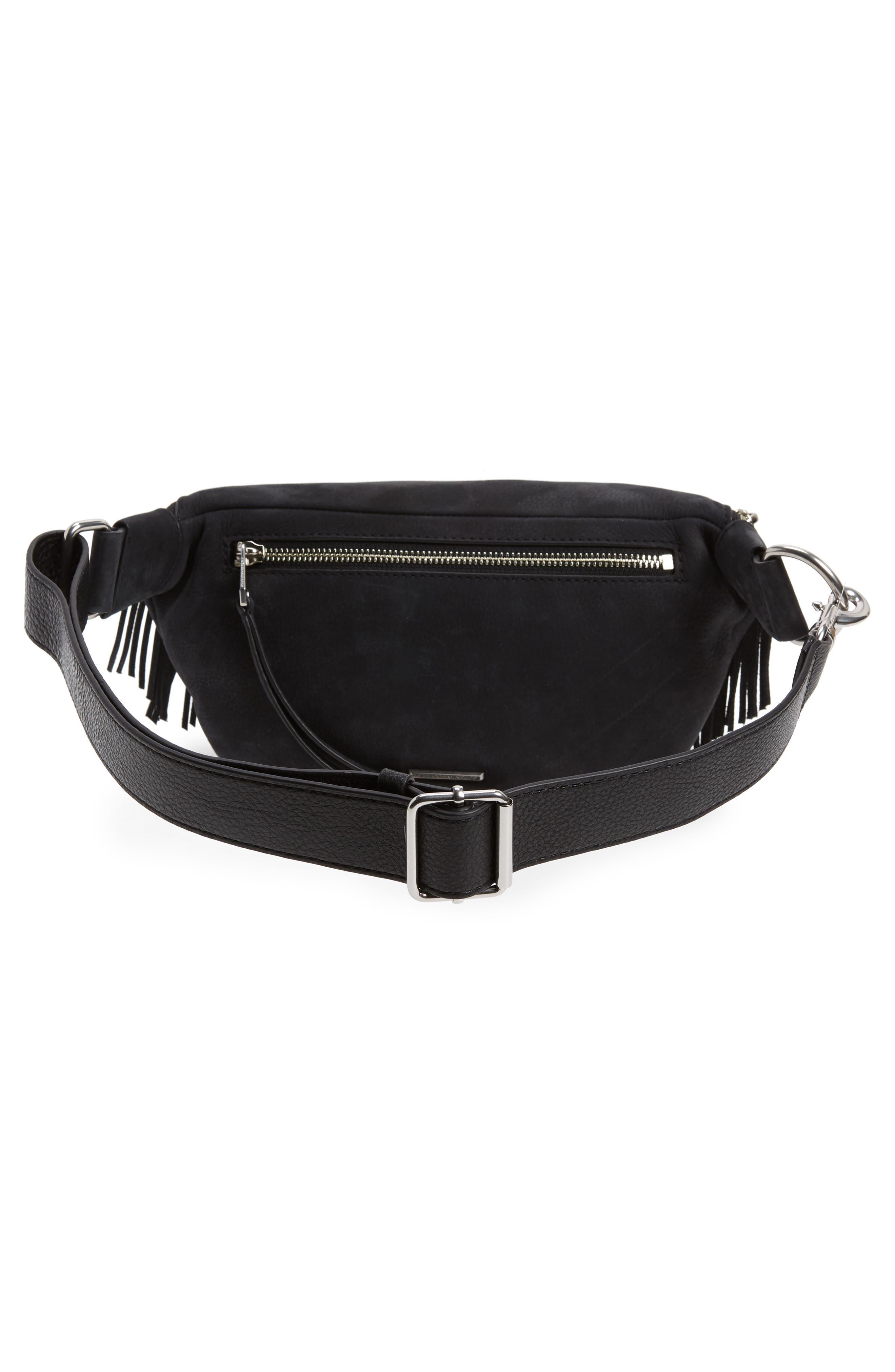 Bree Fringed Belt Bag,                             Alternate thumbnail 4, color,                             001