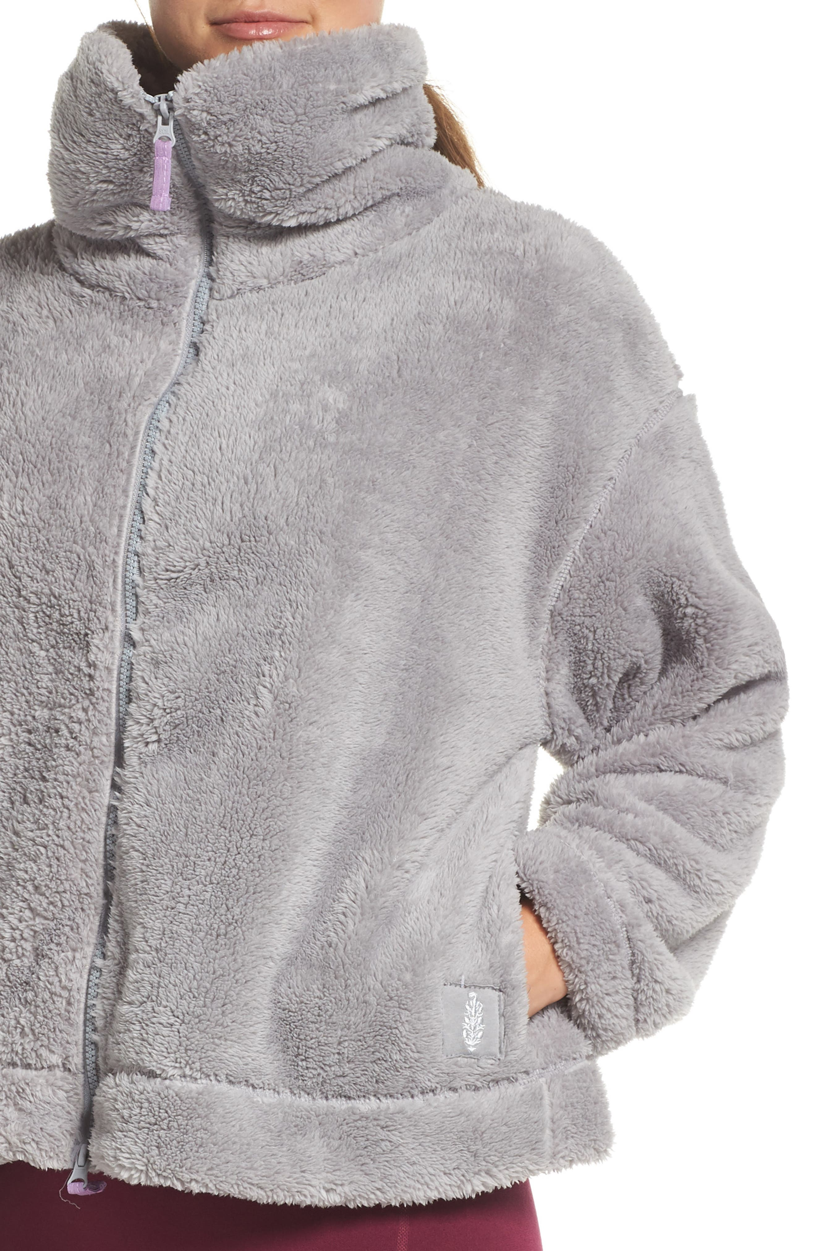 Dazed Fleece Jacket,                             Alternate thumbnail 4, color,                             GREY