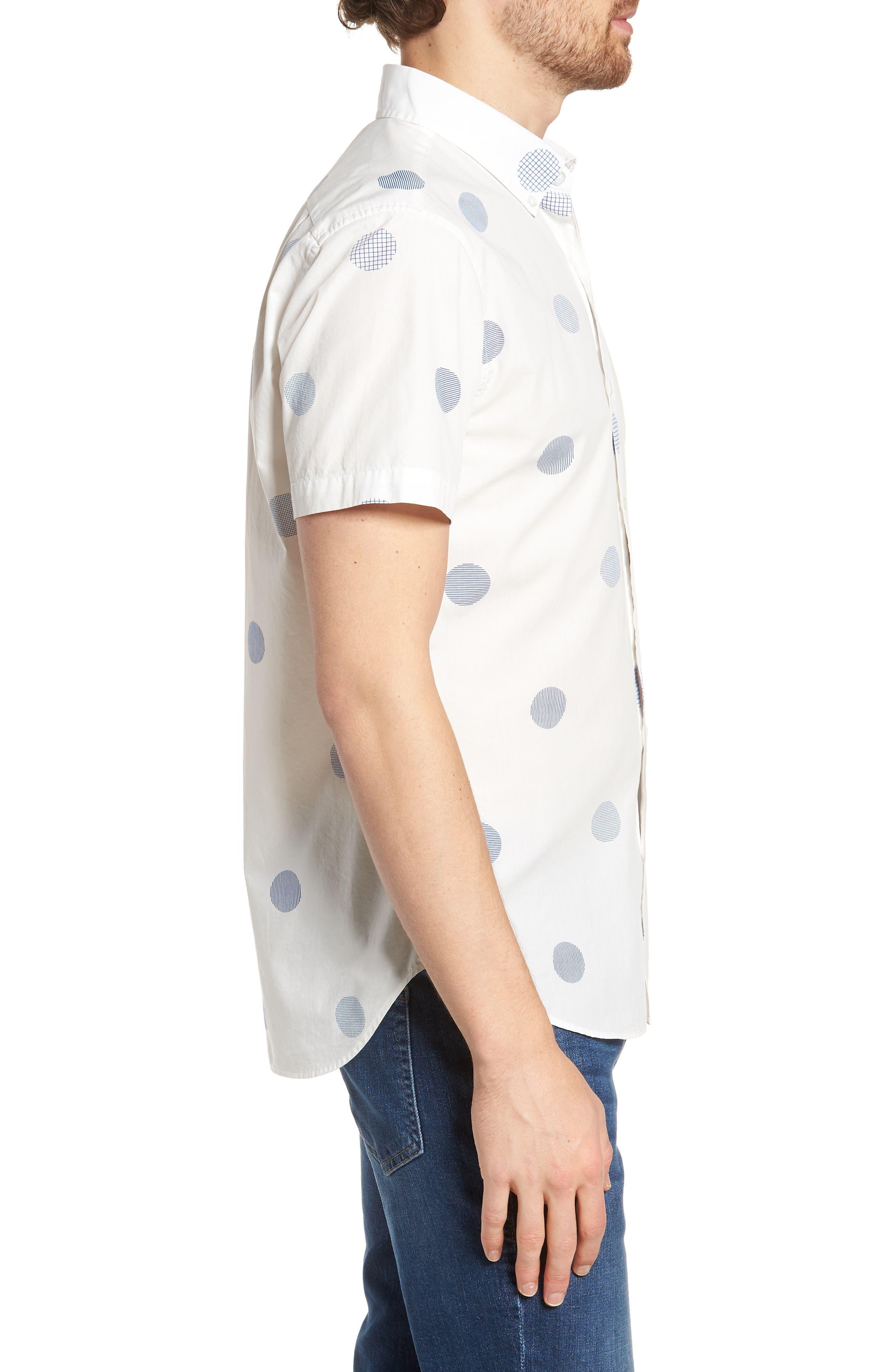 Slim Fit Polka Dot Sport Shirt,                             Alternate thumbnail 3, color,                             400