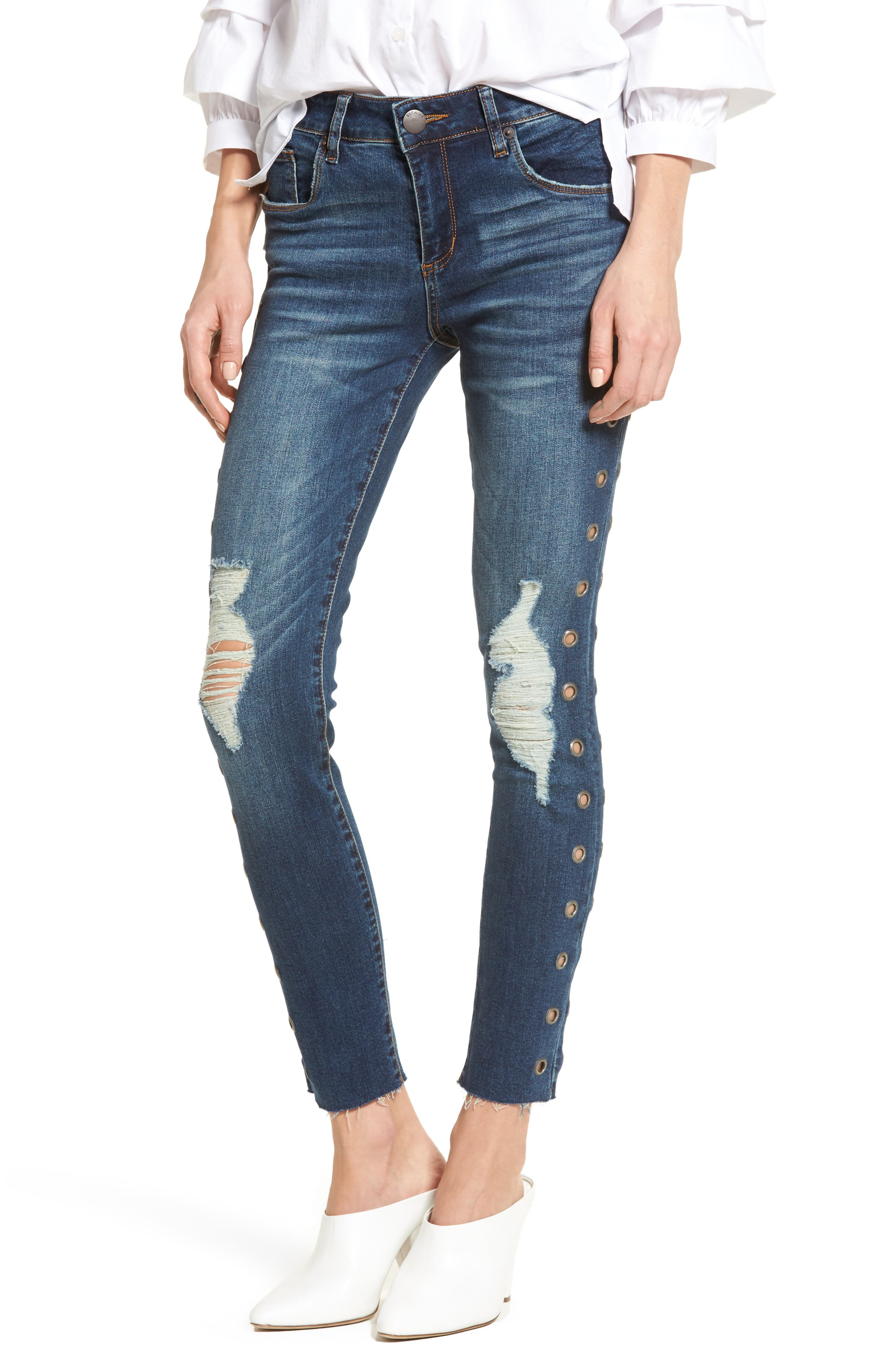 Piper Grommet Detail Skinny Jeans,                         Main,                         color, 400