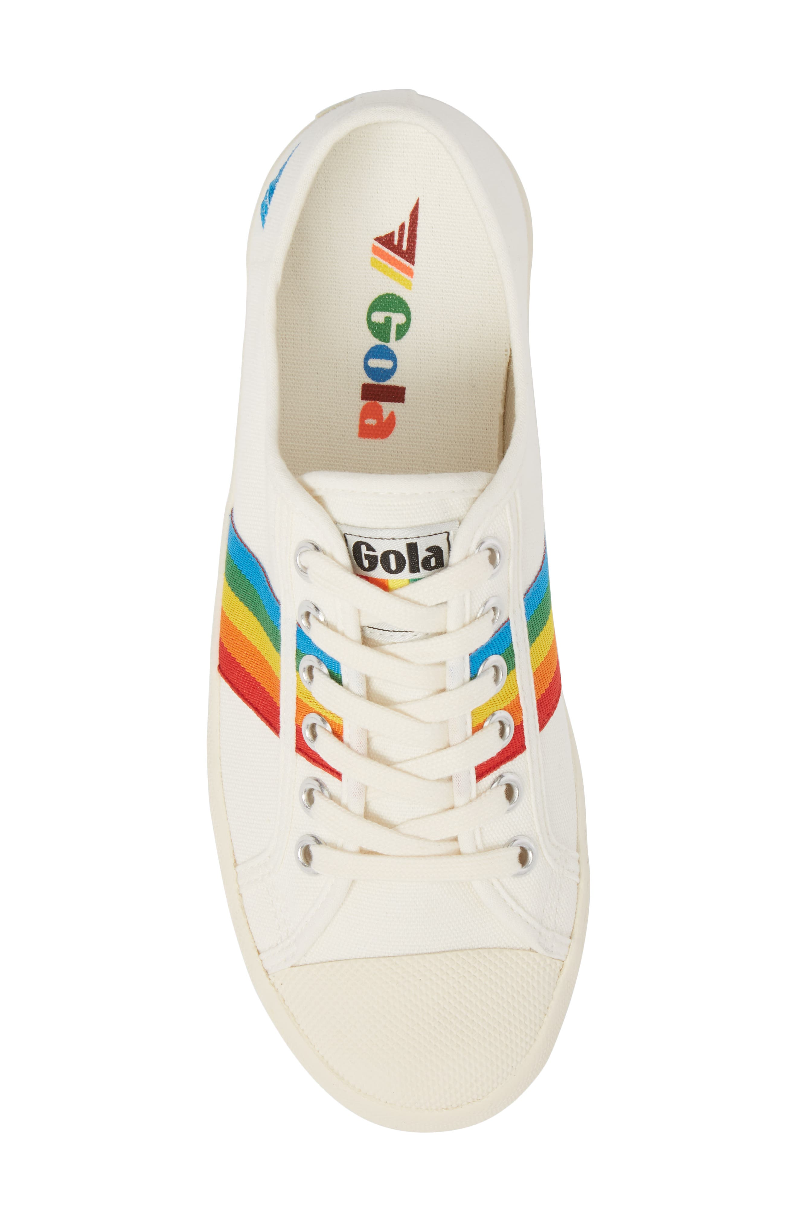 Coaster Rainbow Striped Sneaker,                             Alternate thumbnail 5, color,                             OFF WHITE/ MULTI CANVAS