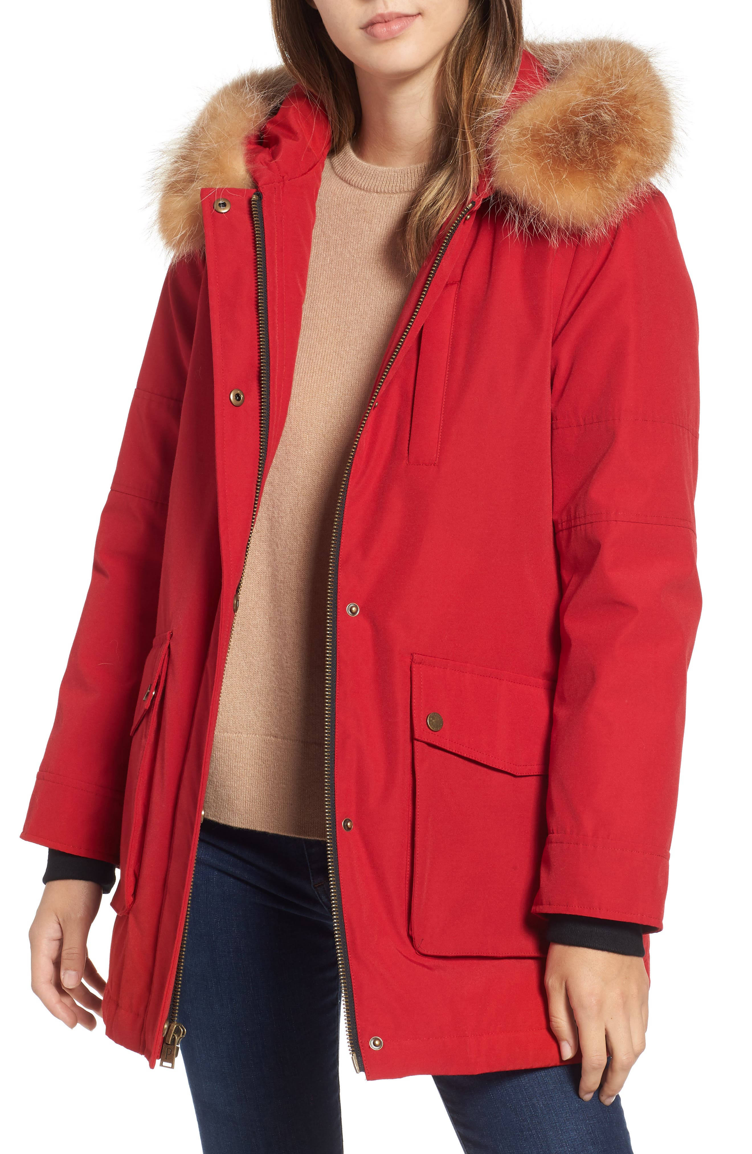 Pendleton Dawson Genuine Fur Trim Down Coat, Red