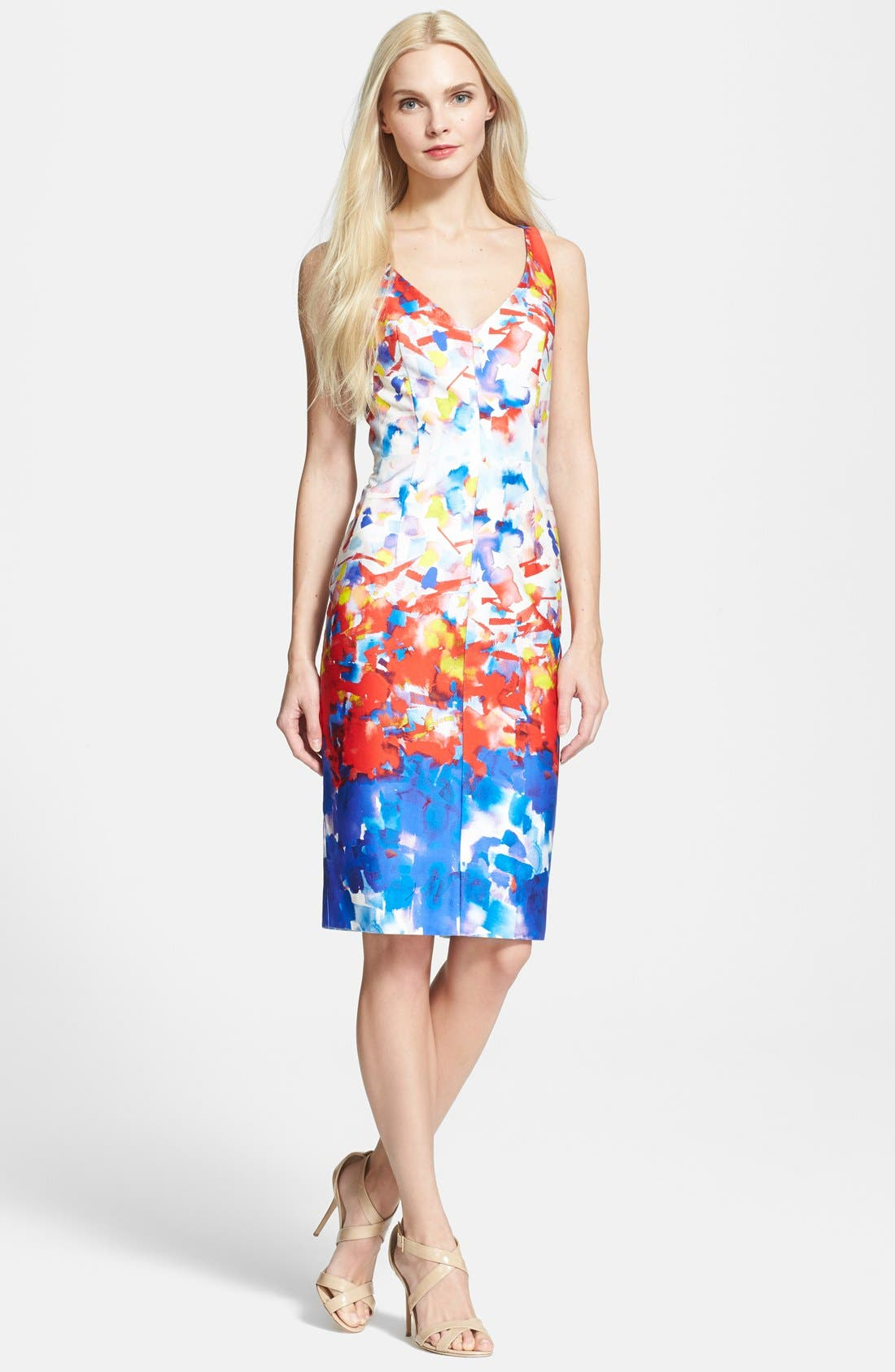 Watercolor Print Sheath Dress, Main, color, 604
