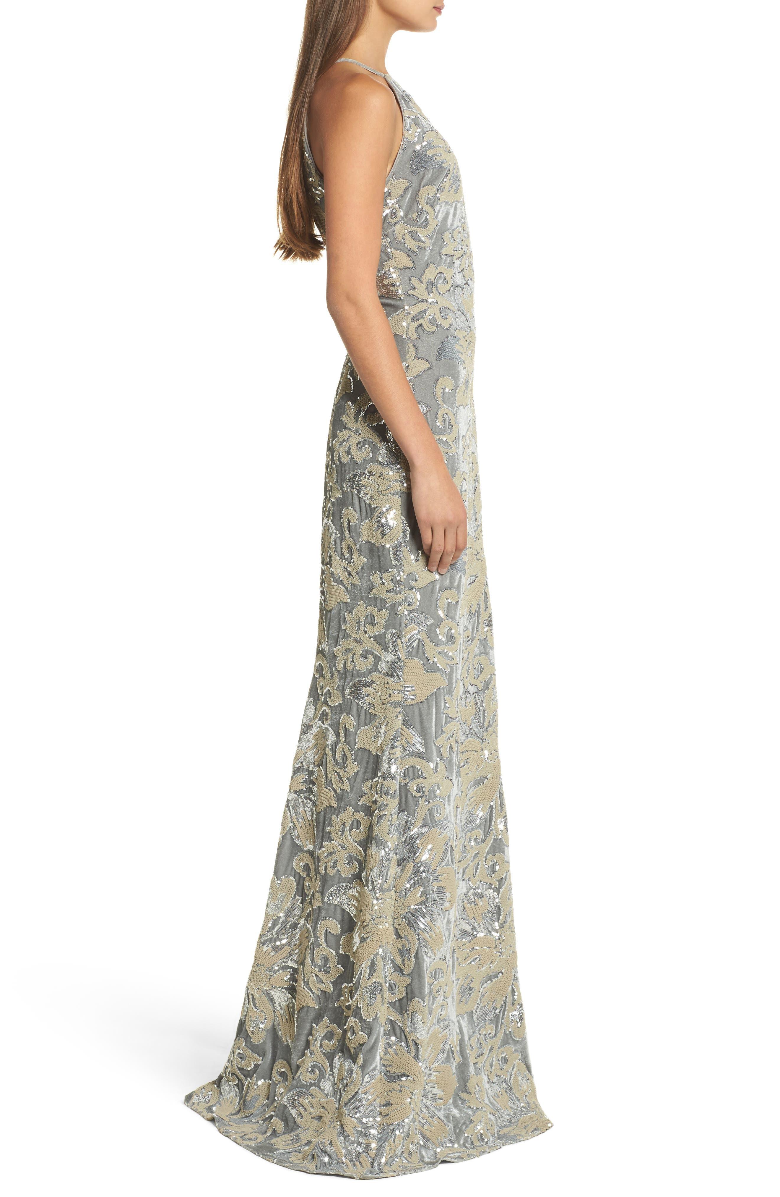 Sequin Embroidered Velvet Halter Gown,                             Alternate thumbnail 3, color,