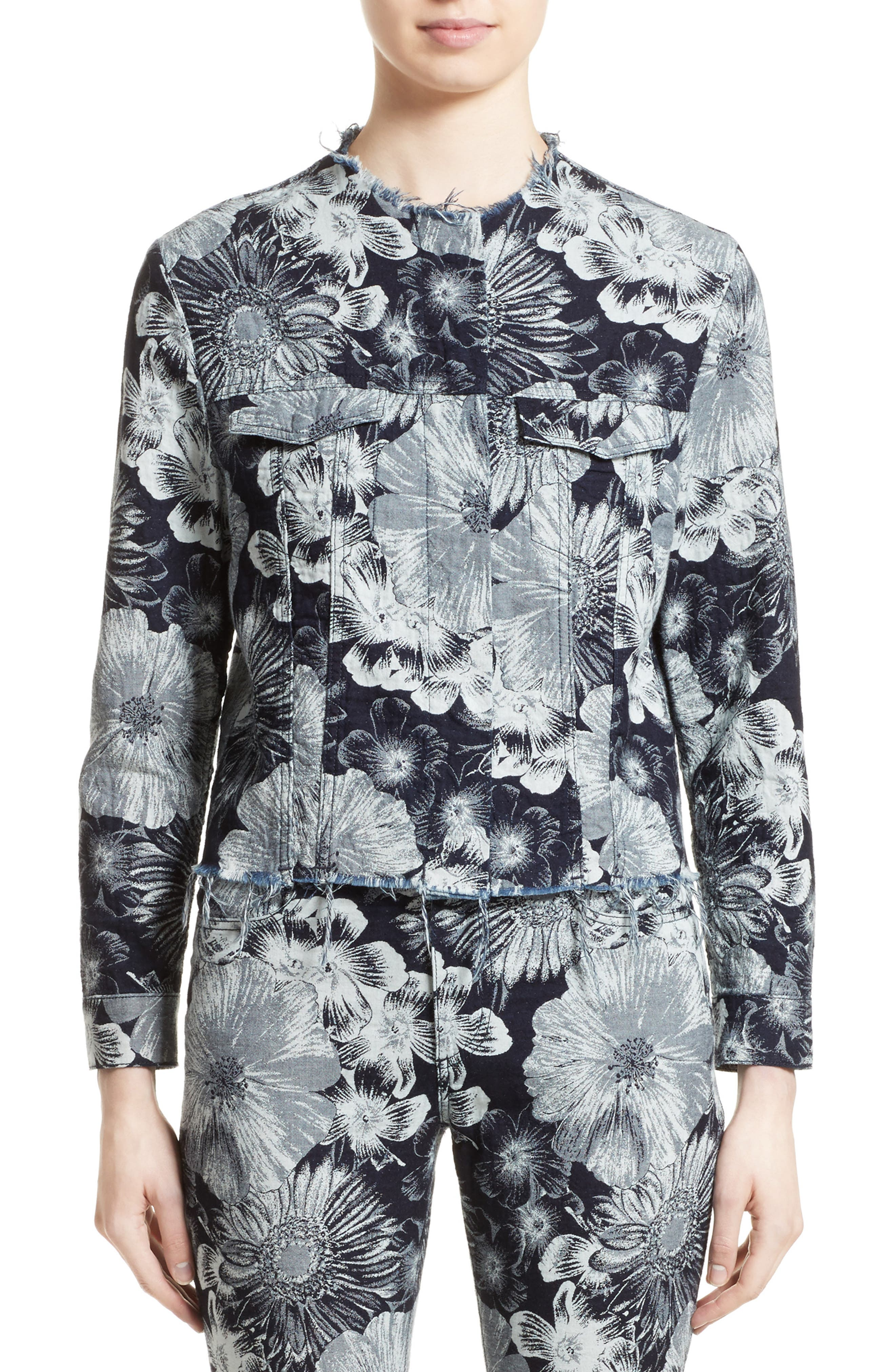 Marques'Almeida Floral Print Classic Fitted Denim Jacket,                             Main thumbnail 1, color,