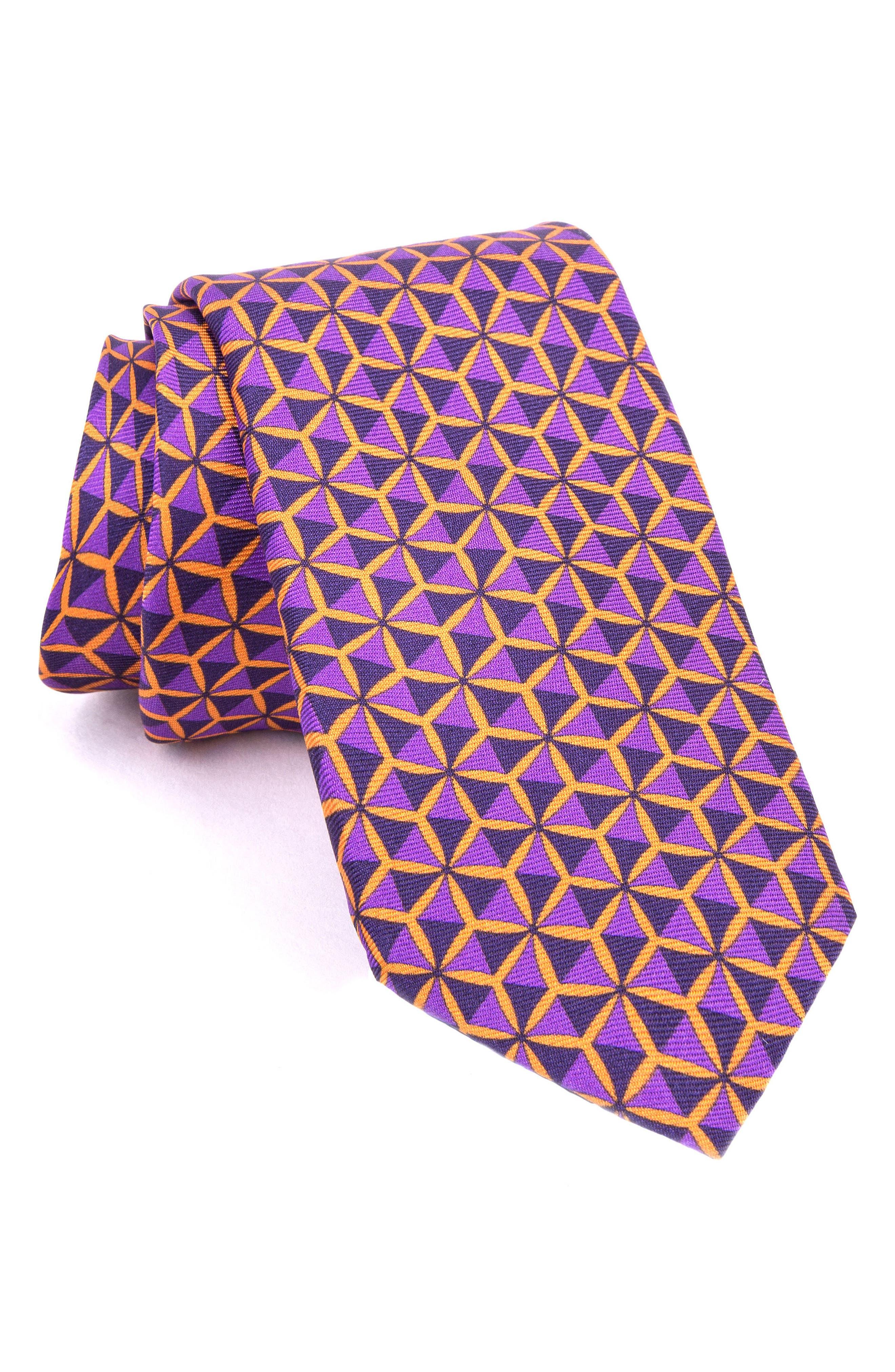 Geo Triangle Print Silk Tie,                             Main thumbnail 2, color,
