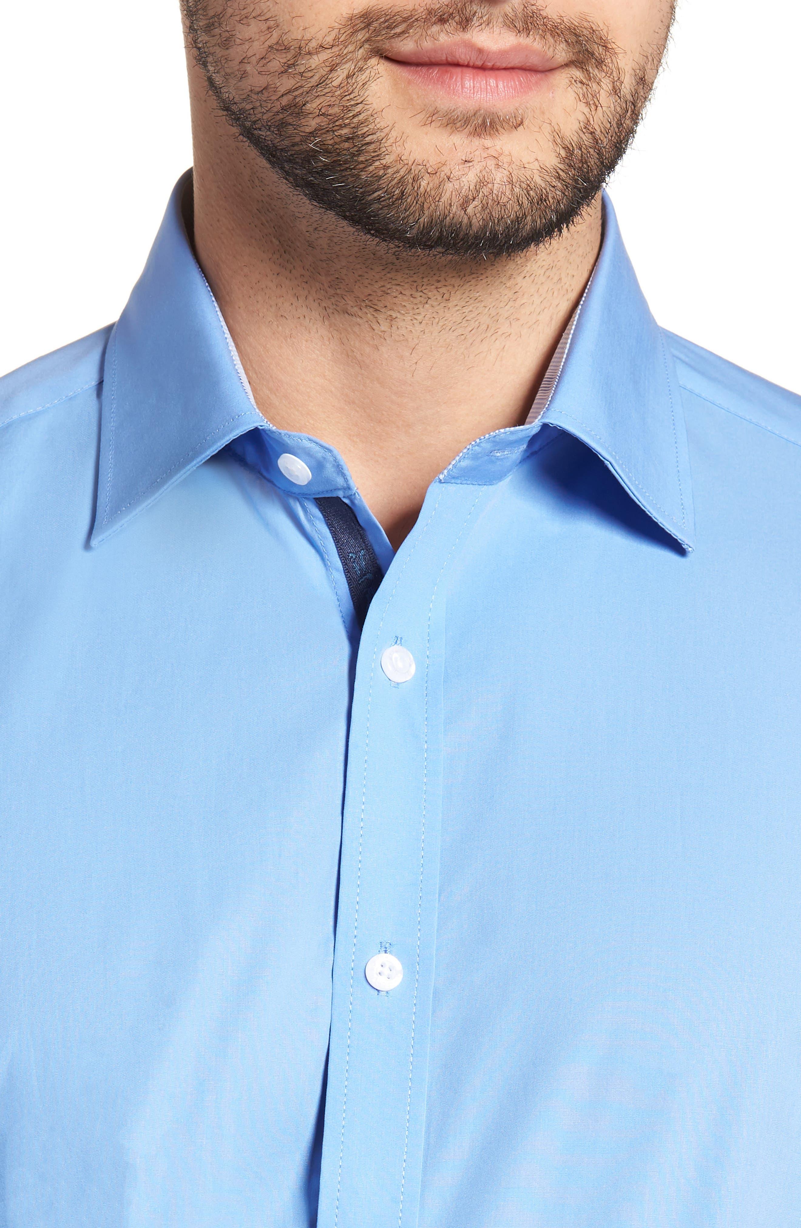 Regular Fit Stretch Solid Dress Shirt,                             Alternate thumbnail 2, color,                             BLUE
