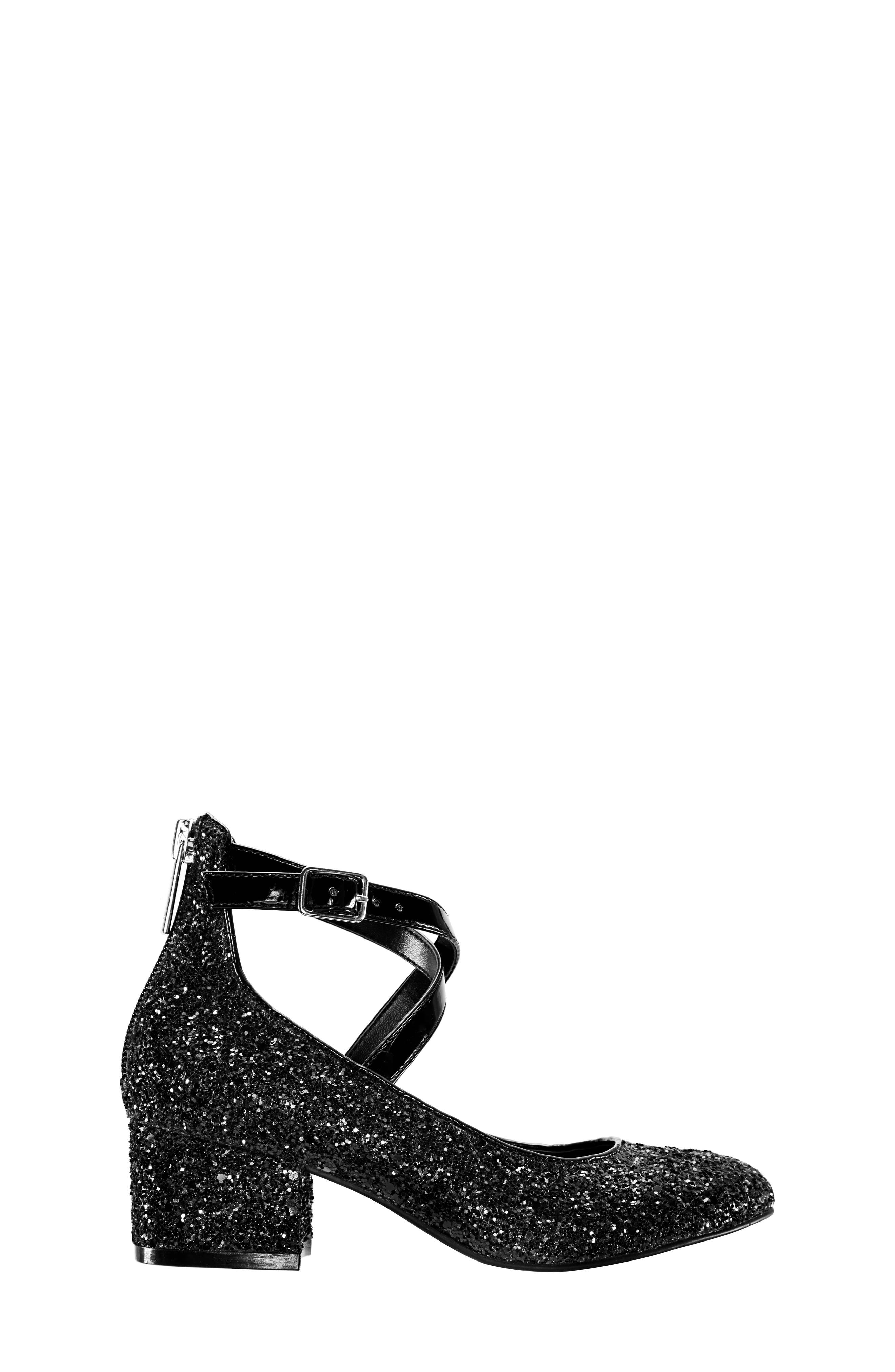 Deisy Glitter Block Heel Pump,                             Alternate thumbnail 3, color,                             BLACK CHUNK GLITTER/ PATENT