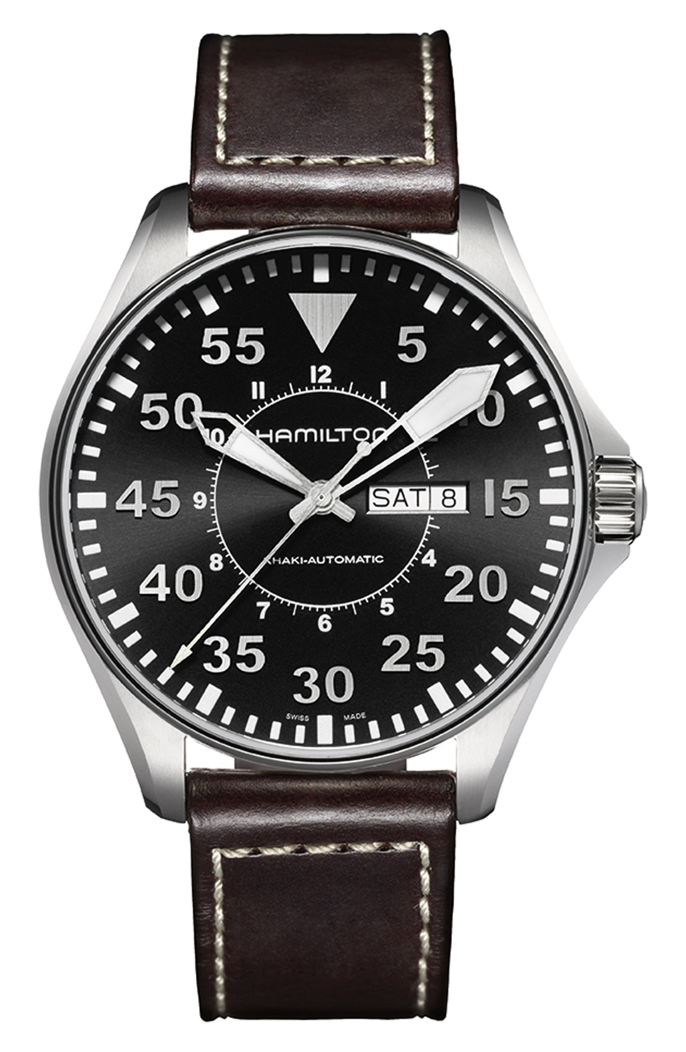 Khaki Aviation Automatic Leather Strap Watch, 46mm,                         Main,                         color, BROWN/ BLACK/ SILVER