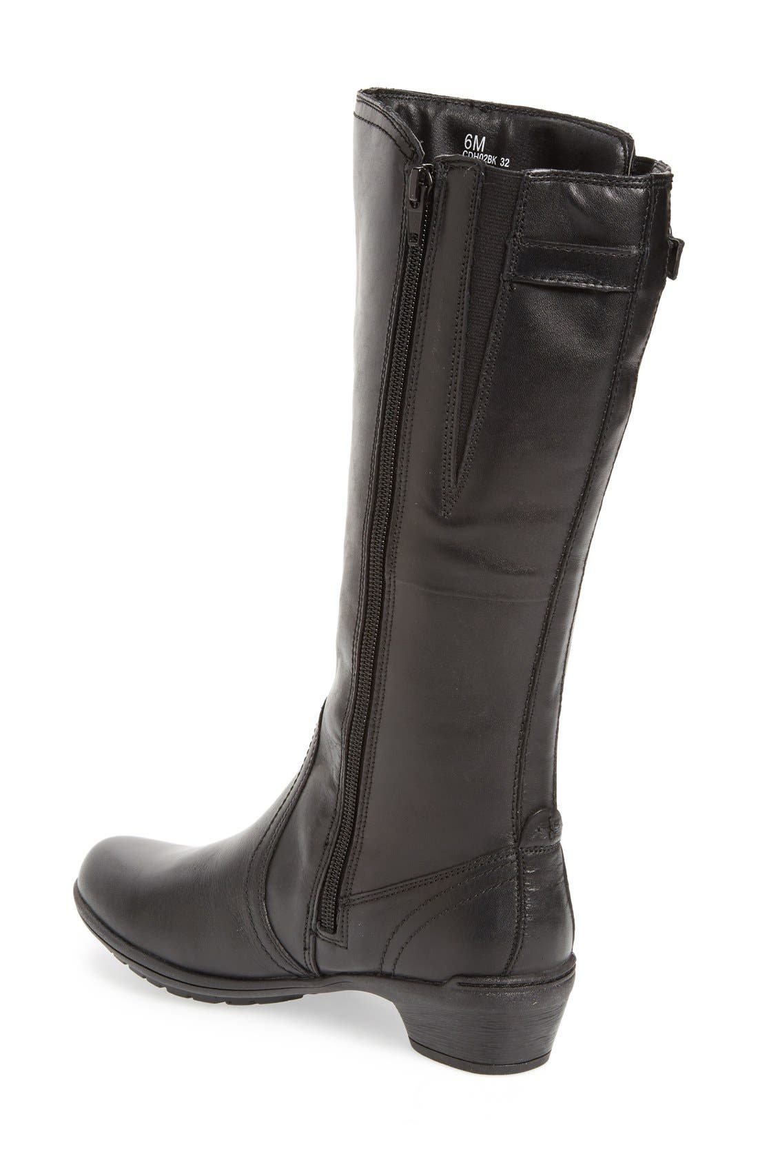 'Rayna' Waterproof Boot,                             Alternate thumbnail 4, color,                             BLACK LEATHER