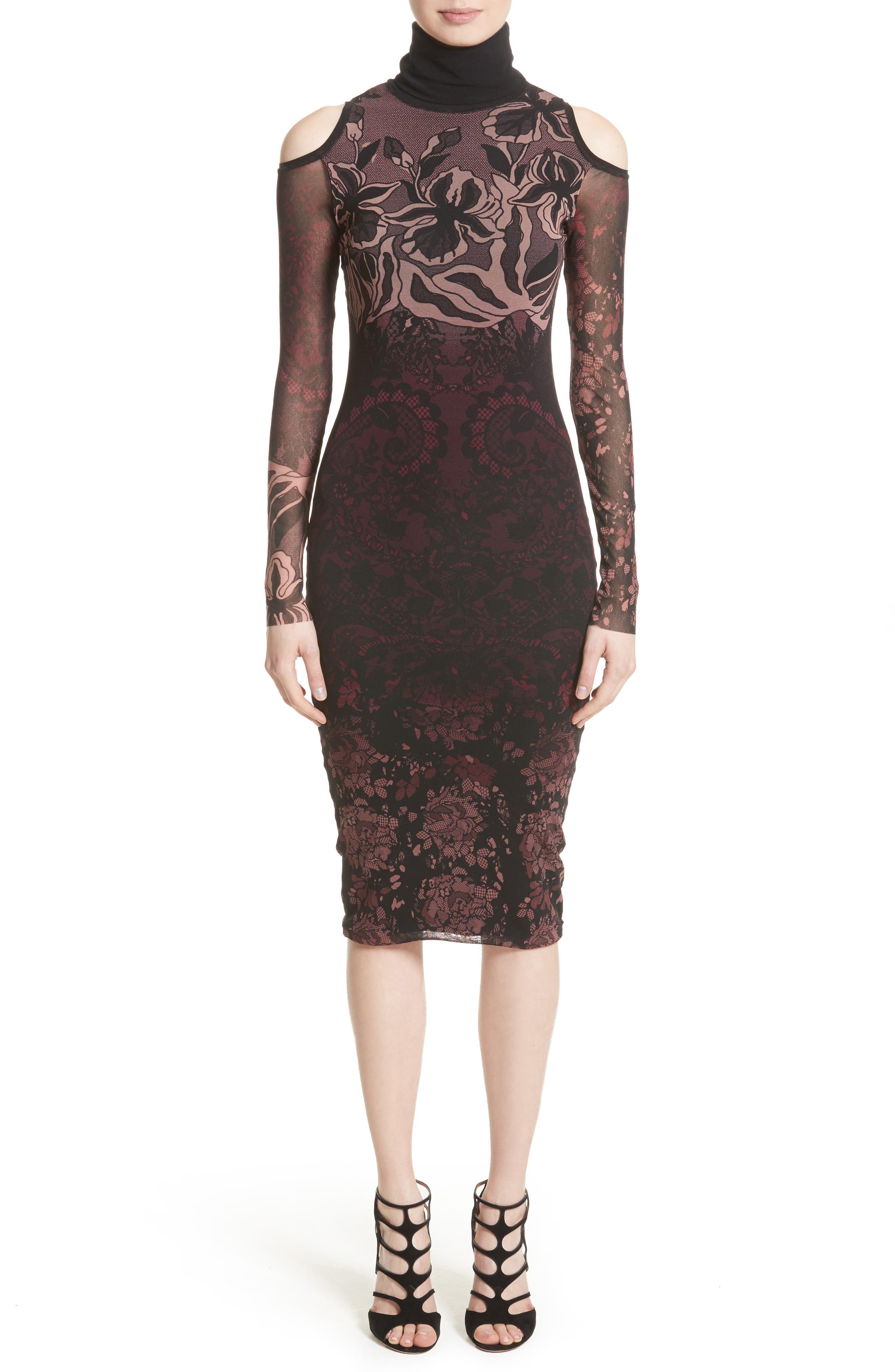 Cold Shoulder Tulle Turtleneck Dress,                             Main thumbnail 1, color,