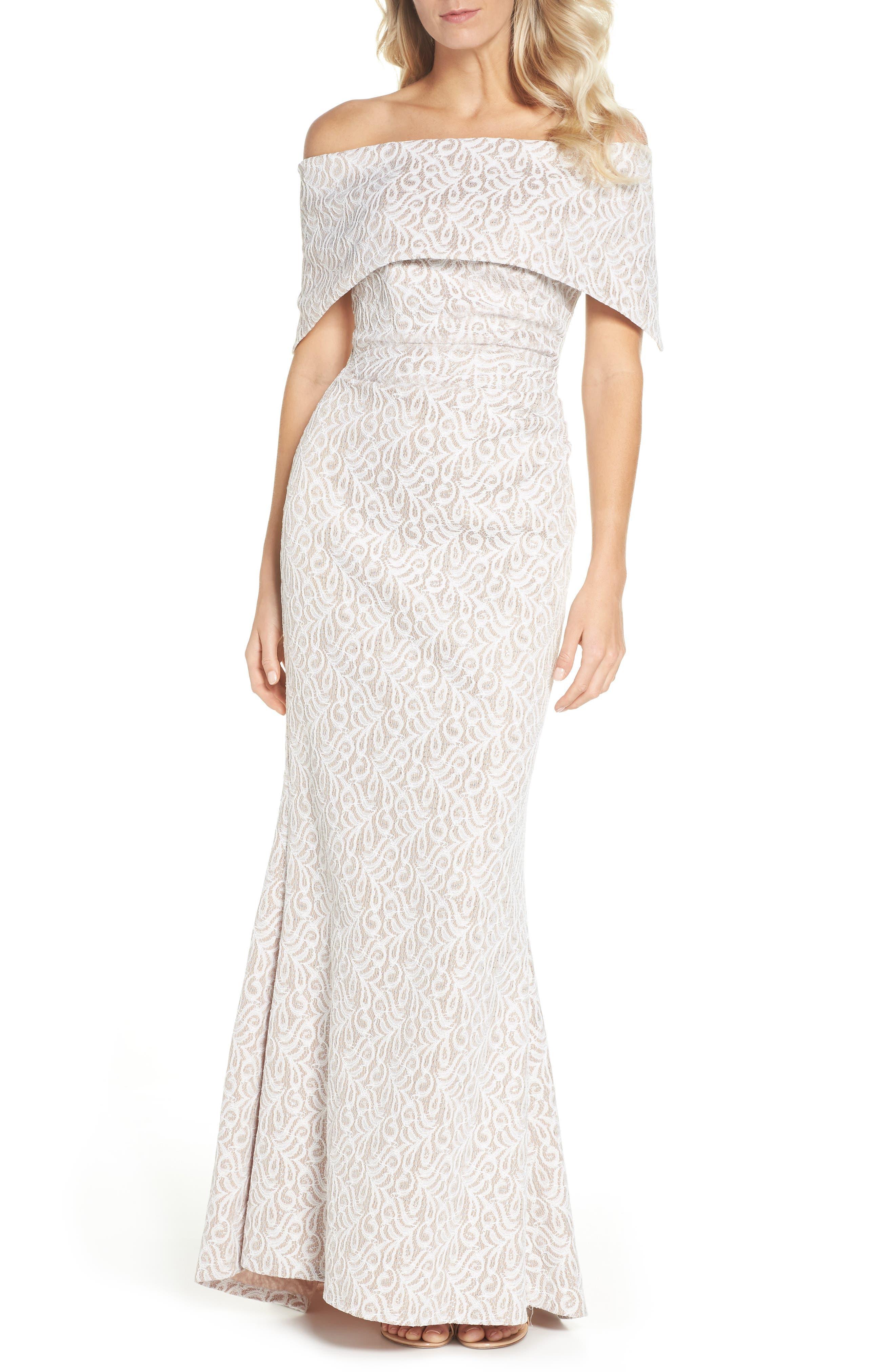 Off the Shoulder Lace Trumpet Gown,                         Main,                         color, IVORY BEIGE