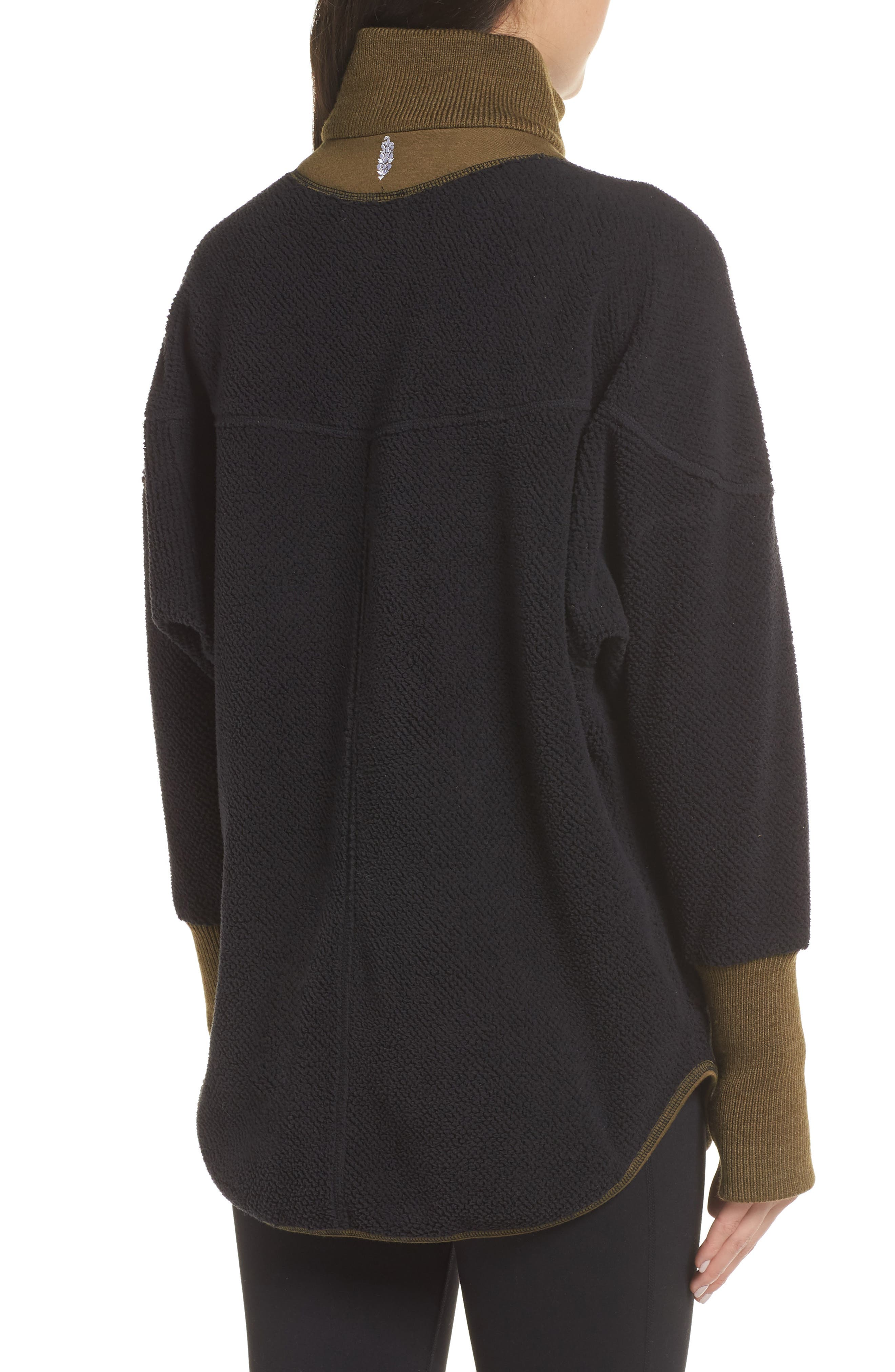Free People FP Movement Mountain Dreaming Reversible Sweatshirt,                             Alternate thumbnail 3, color,                             BLACK