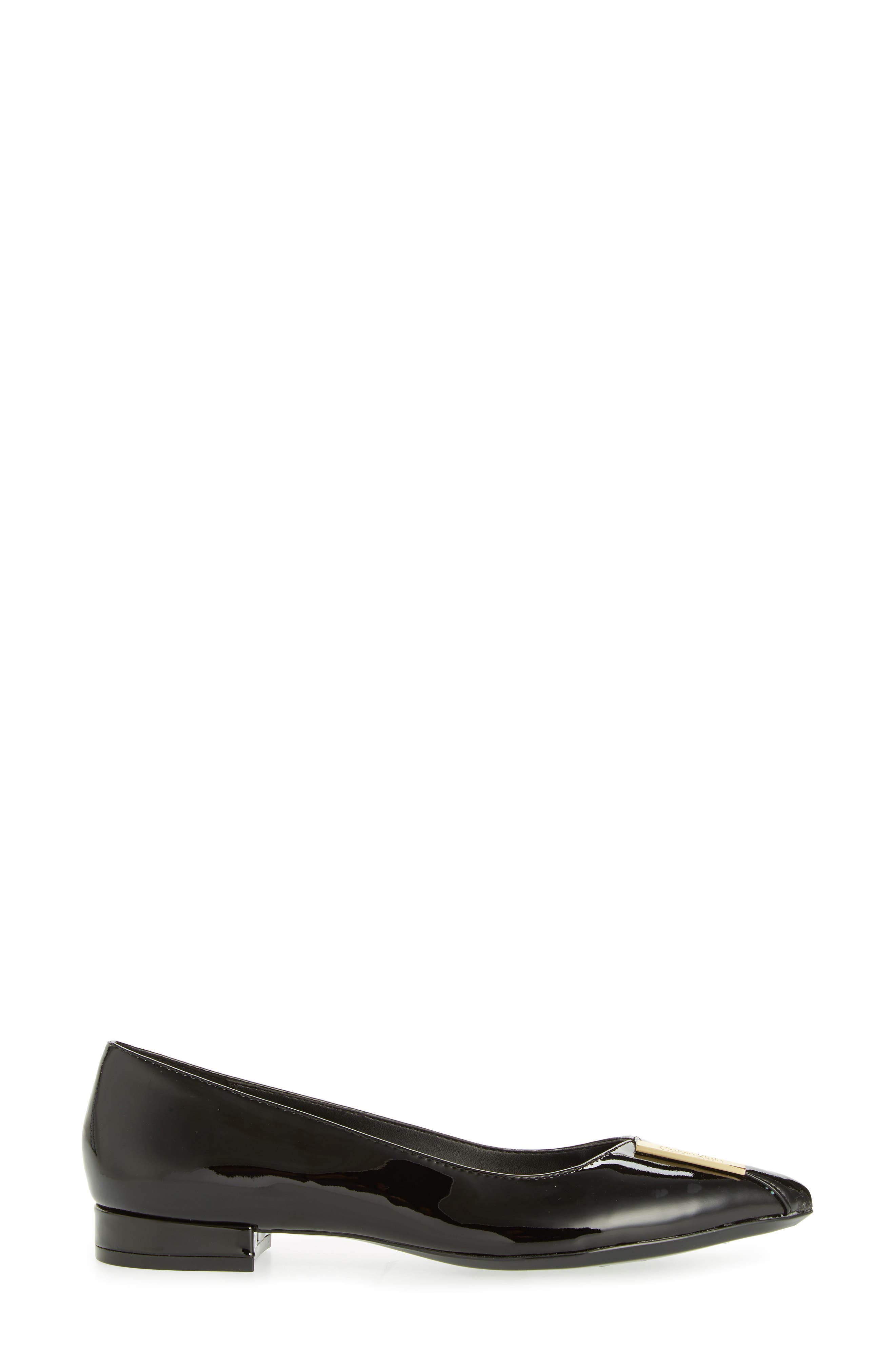 Arline Pointy Toe Flat,                             Alternate thumbnail 3, color,                             BLACK PATENT LEATHER