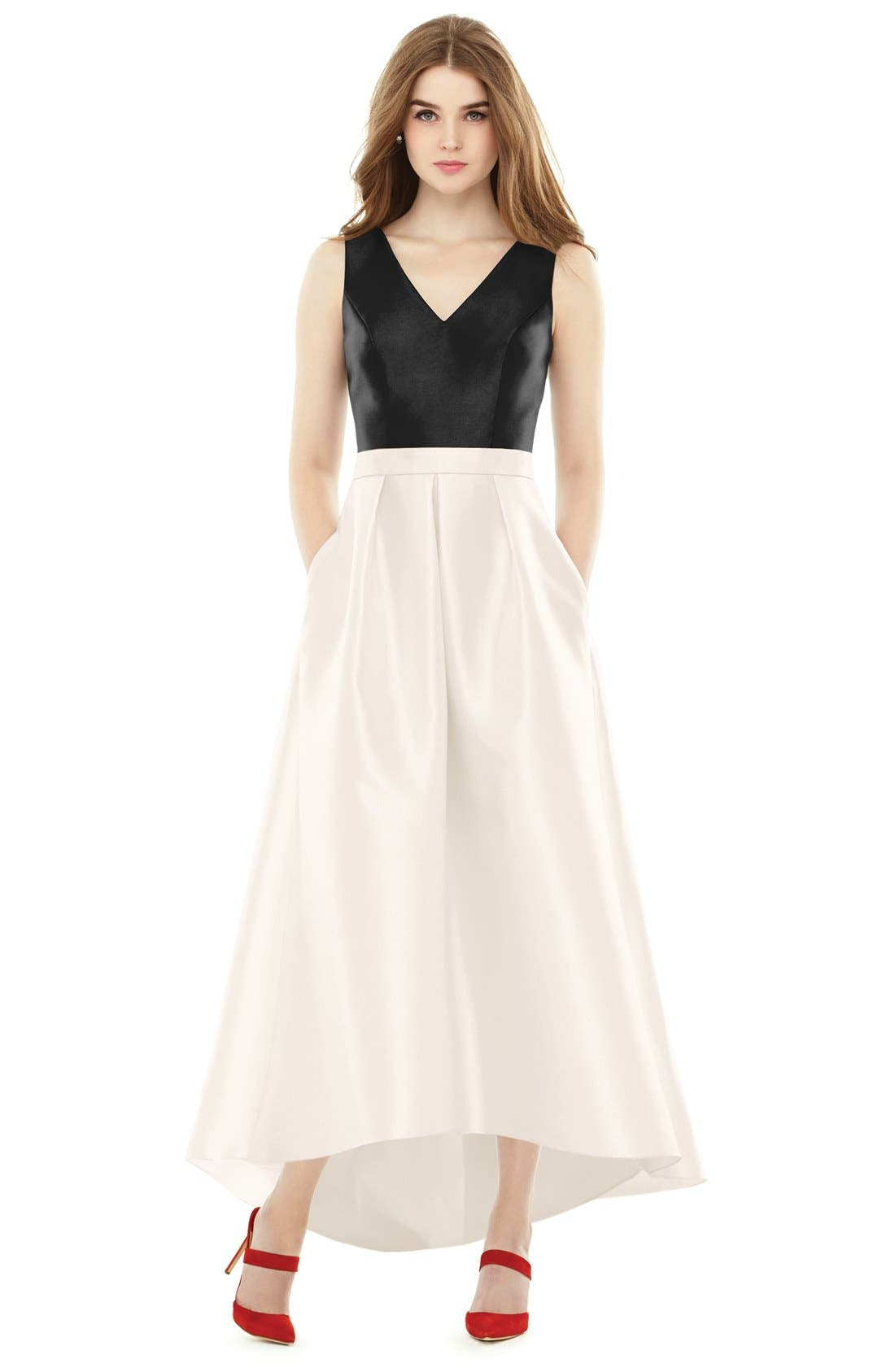 High/Low V-Neck Sateen A-Line Gown,                             Main thumbnail 1, color,                             101