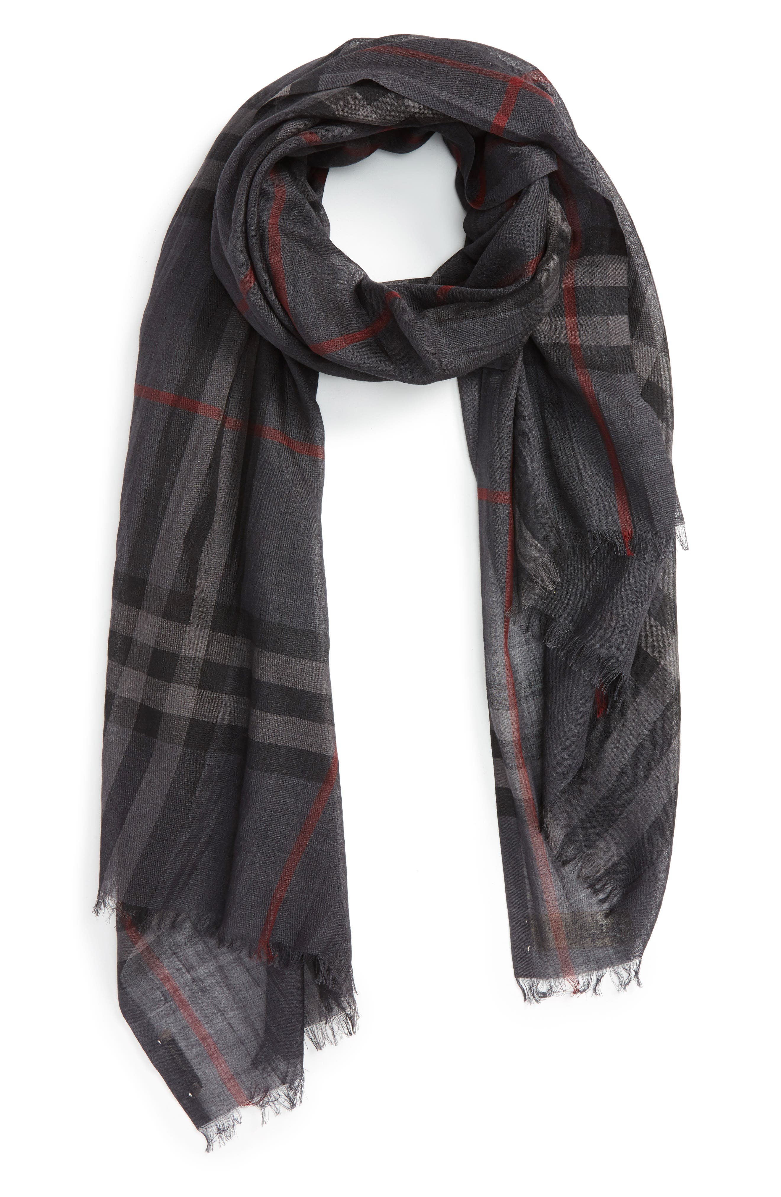 Giant Check Print Wool & Silk Scarf,                             Alternate thumbnail 76, color,