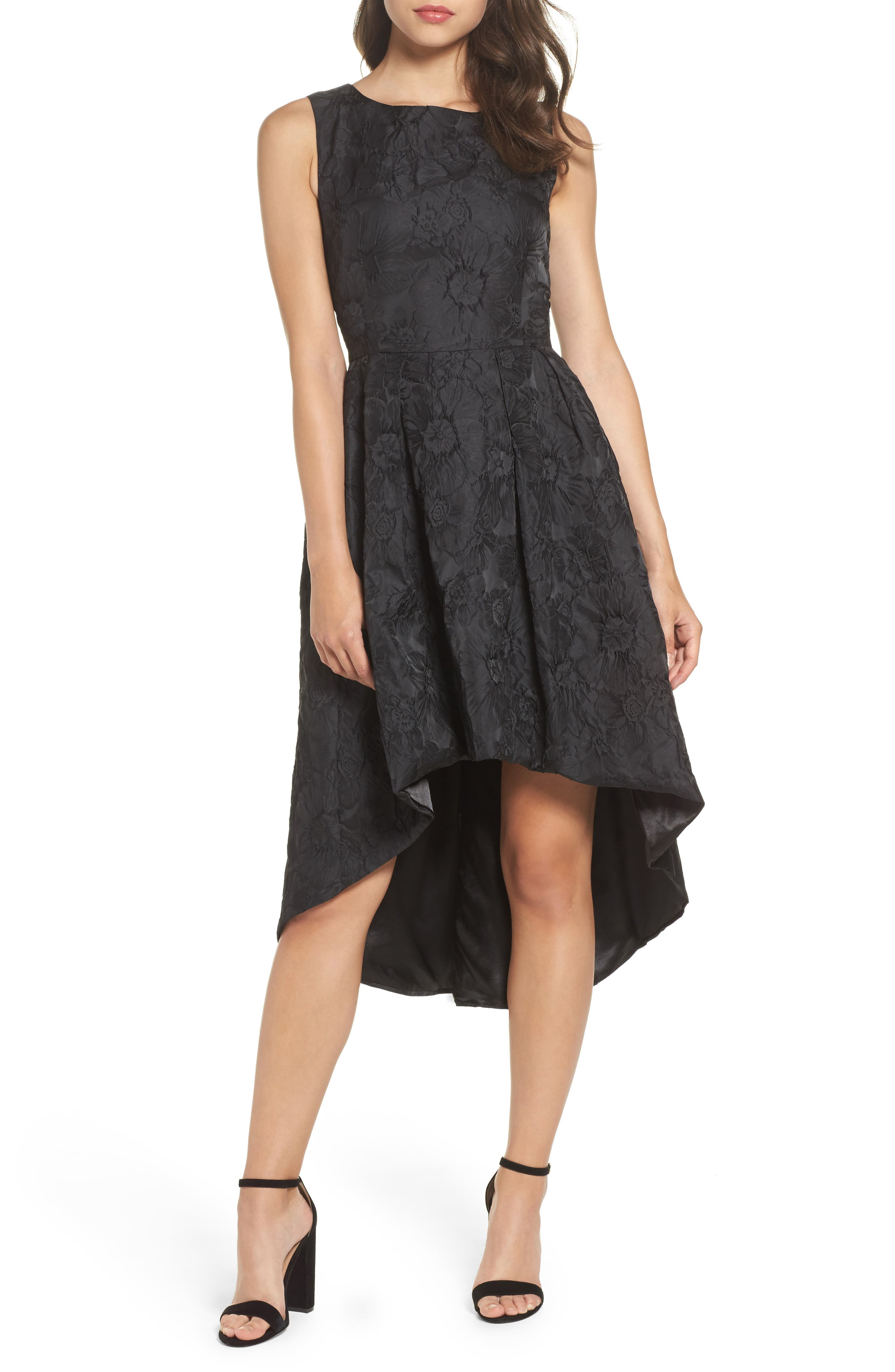 Forest Lily Jacquard High/Low Dress,                             Main thumbnail 1, color,                             001