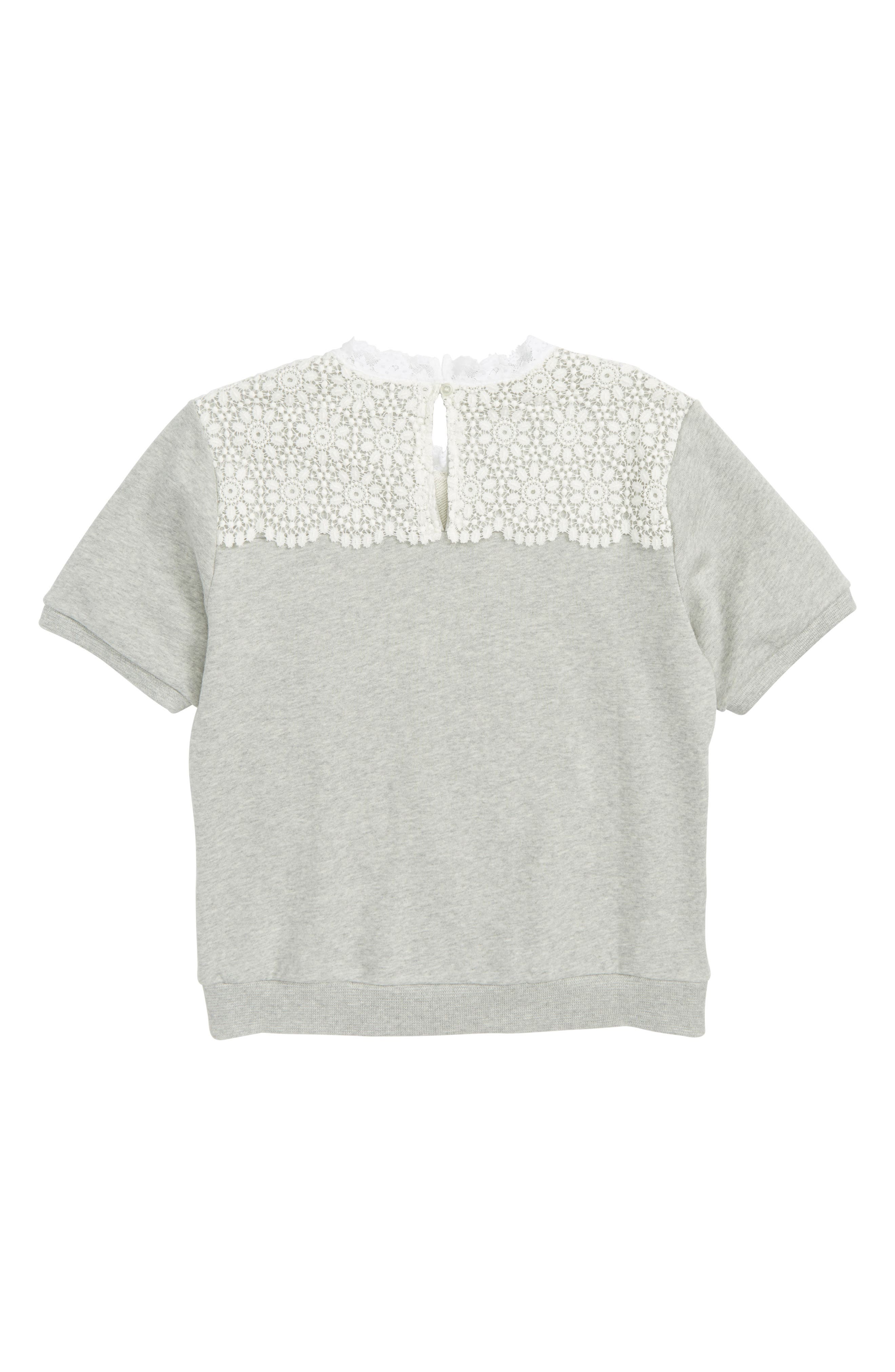 Hettie Lace Short Sleeve Sweater,                             Alternate thumbnail 2, color,