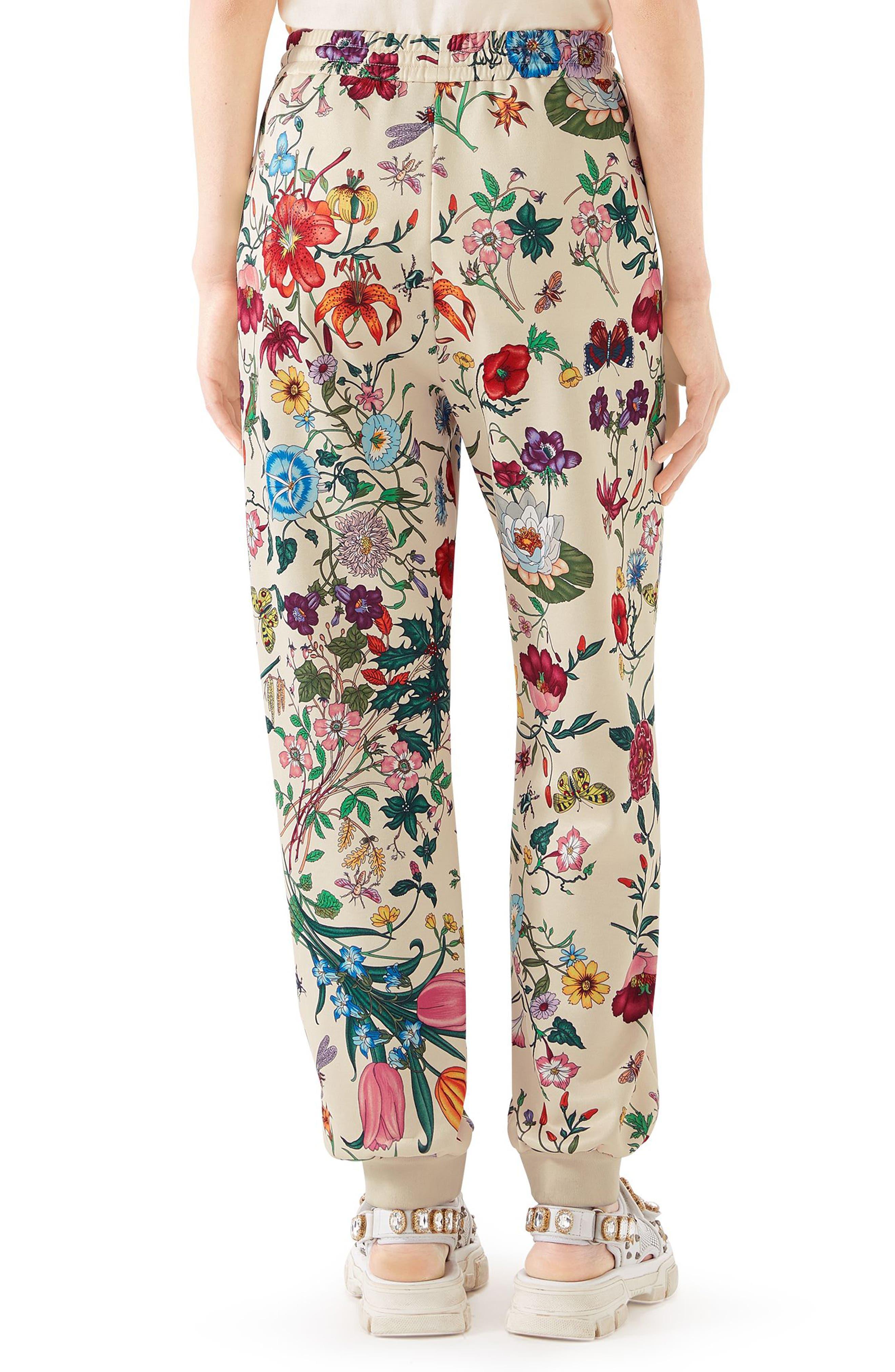 Floral Print Tech Jersey Track Pants,                             Alternate thumbnail 2, color,                             9381 IVORY/ MULTICOLOR